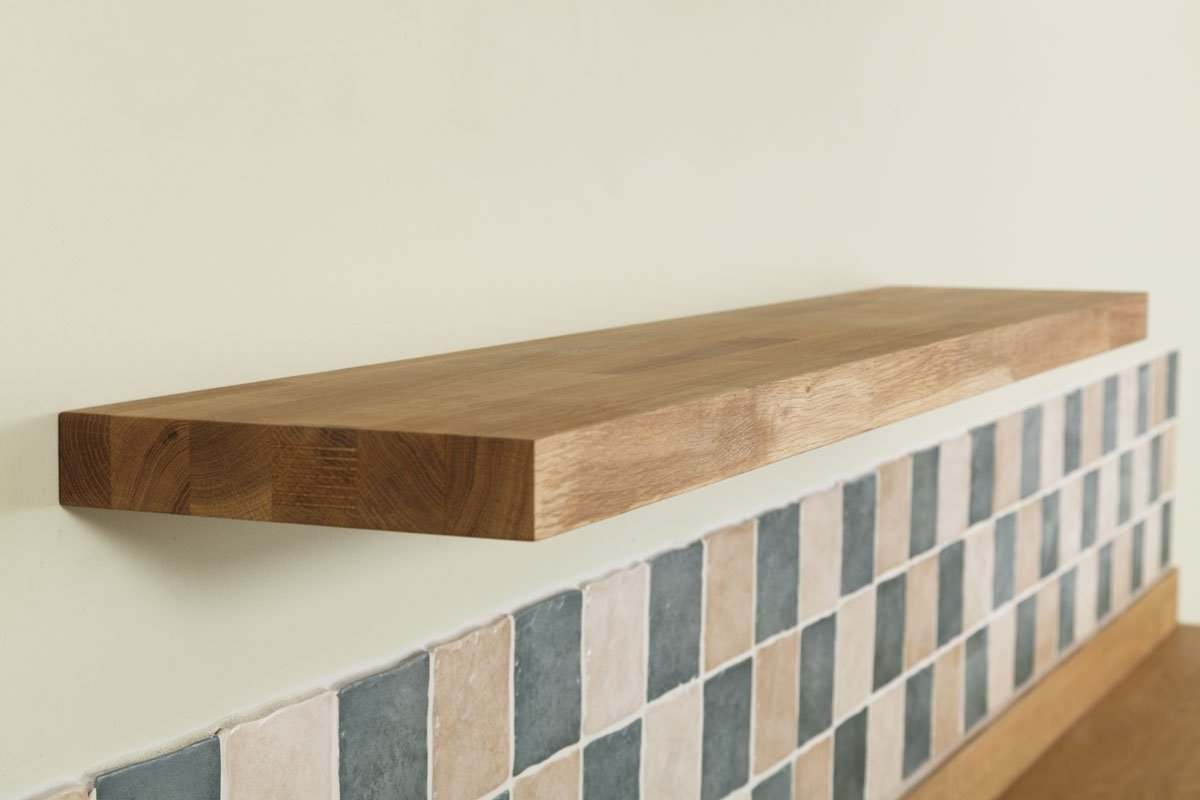 Oak Shelves Intended For Widely Used Solid Oak Timber Block Floating Shelf – Available In A Variety Of (View 7 of 15)
