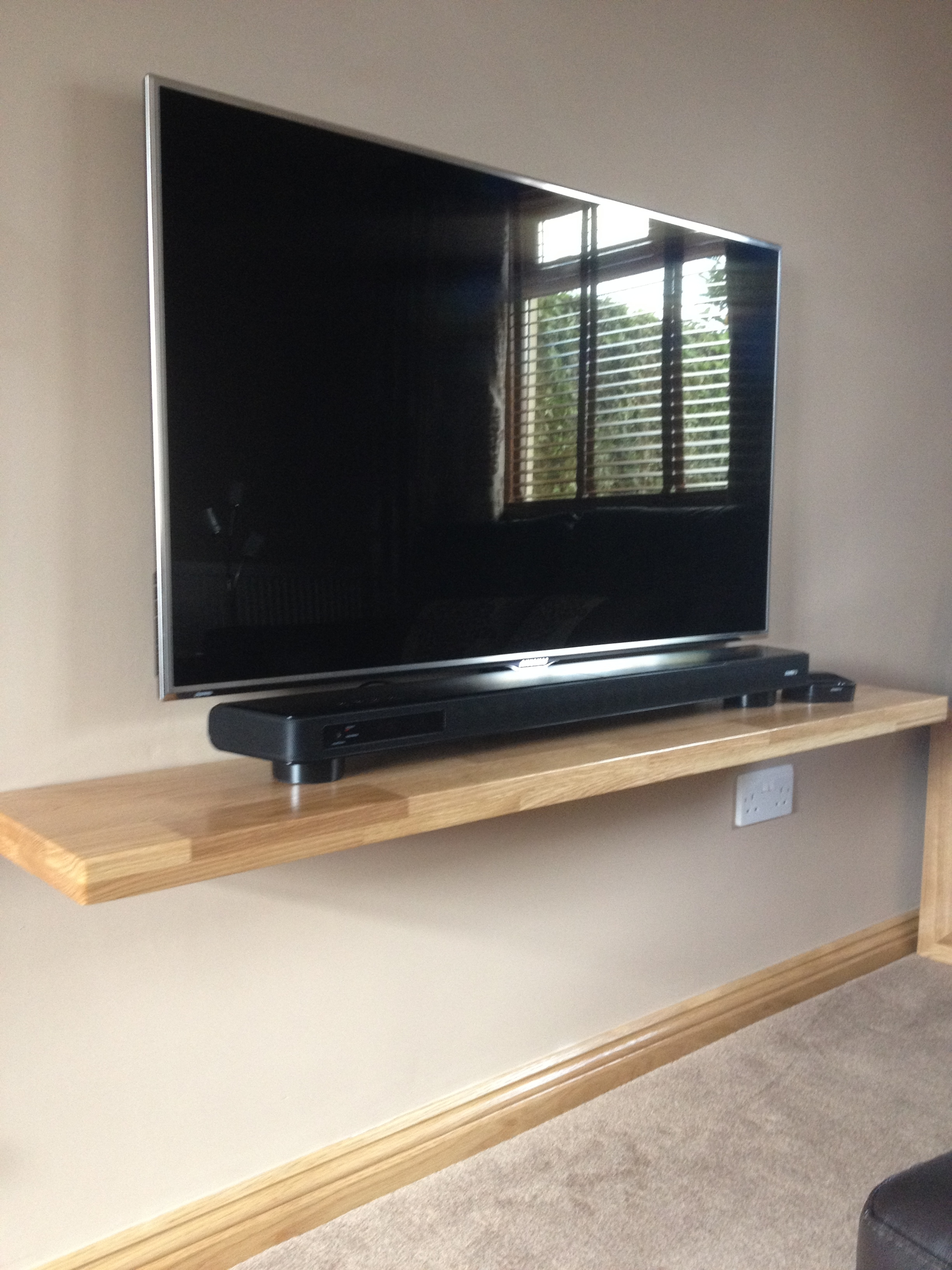One Of Ours Solid Oak Floating Shelves Used To Support A Flat For Trendy Flat Screen Shelving (View 11 of 15)