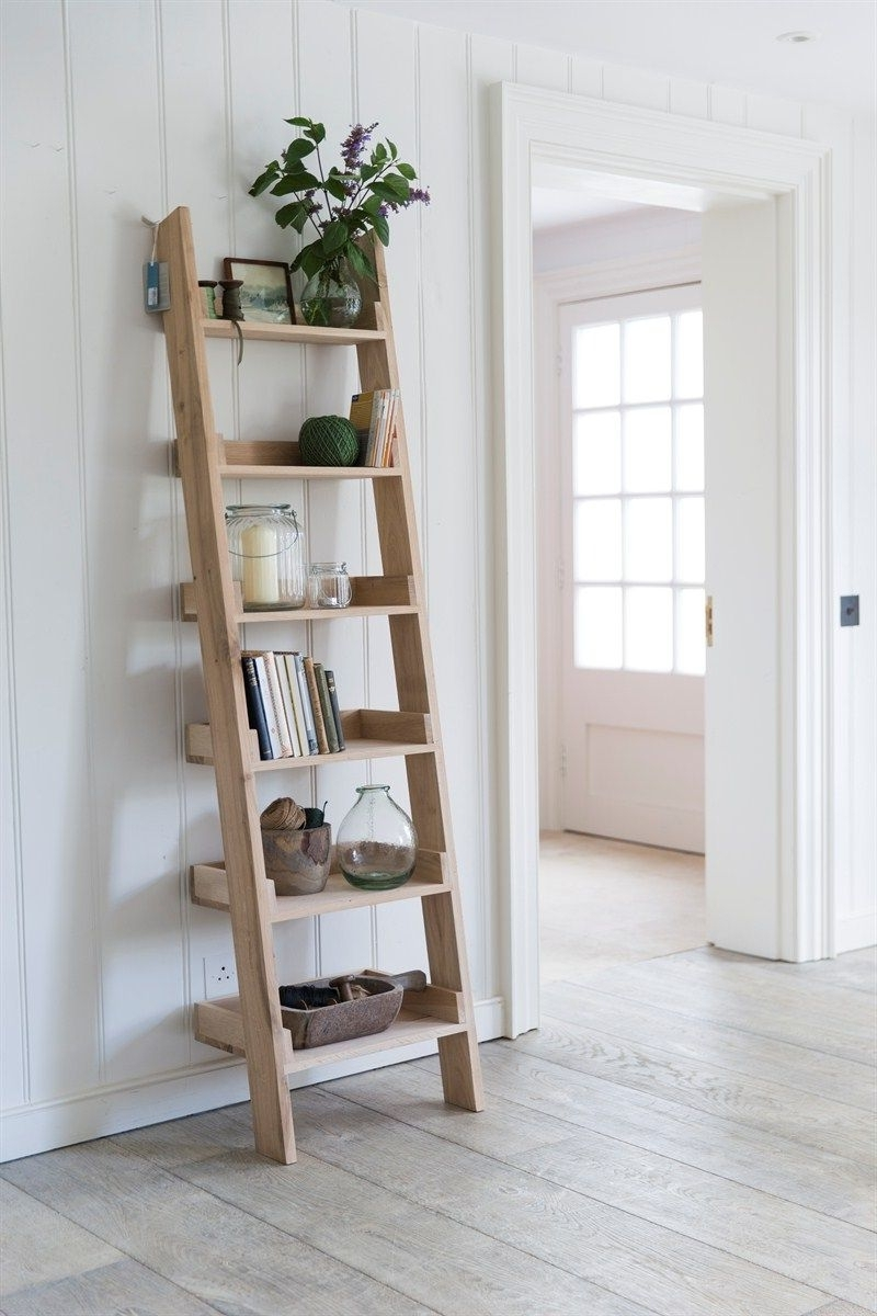 Our Original Raw Oak Shelf Ladder, With 6 Graded Shelves, Offers A Inside Fashionable Ladder Shelves (View 9 of 15)