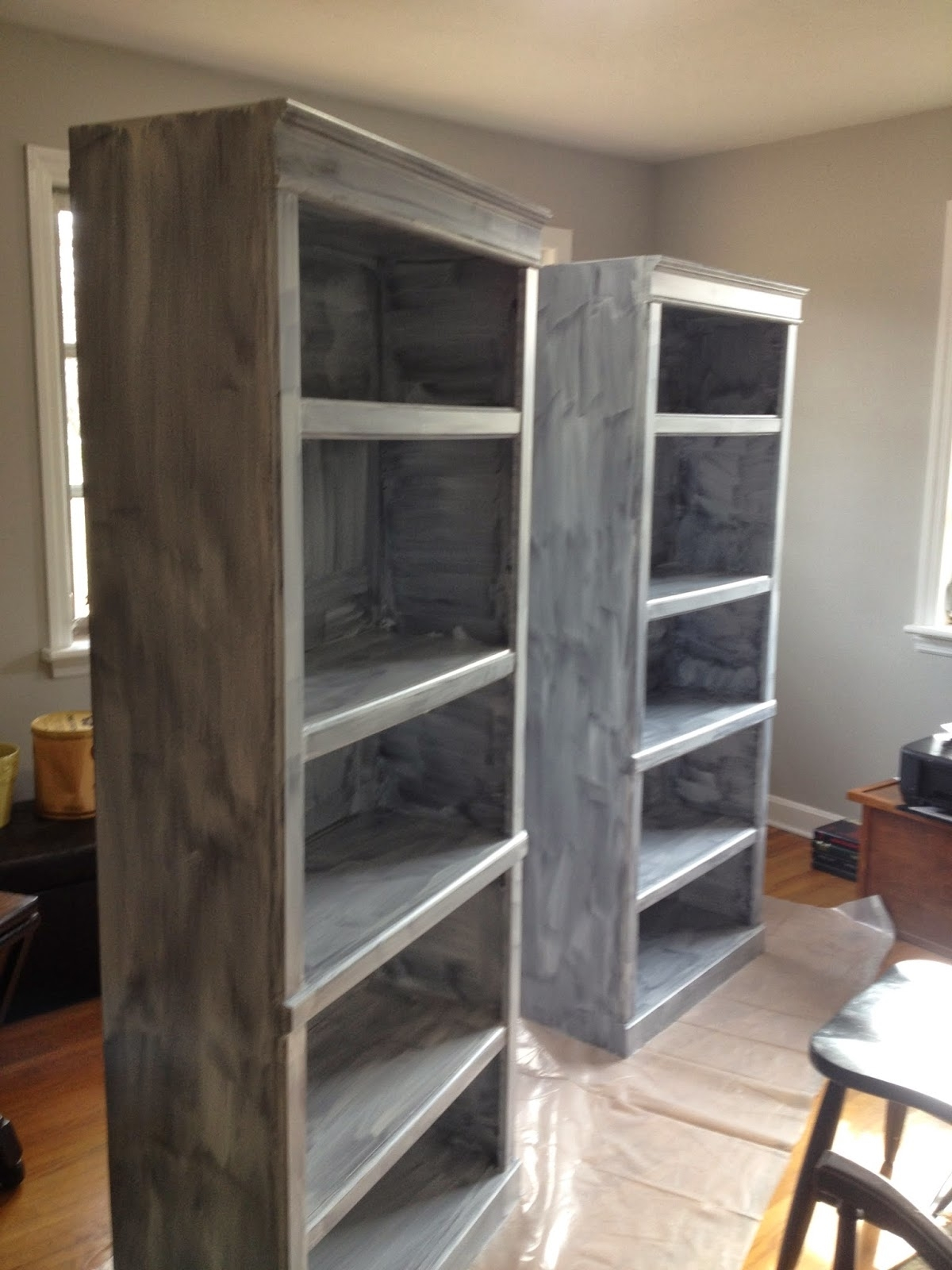 Painted Bookshelves Inside Most Current Blissfully Chic Diy: Painting Laminate Bookshelves – Dark To Bright! (View 7 of 15)