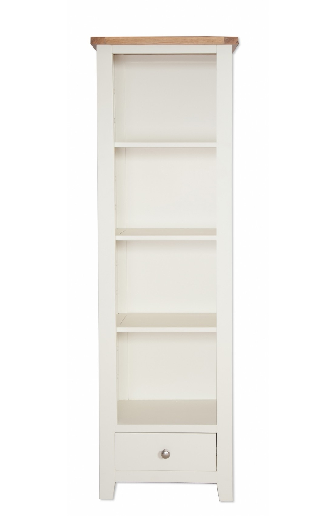 Painted Oak Bookcases Regarding Most Popular Oakwood Living Ivory Painted Oak Slim Bookcase 56 X 32 X 180 Cm (View 12 of 15)