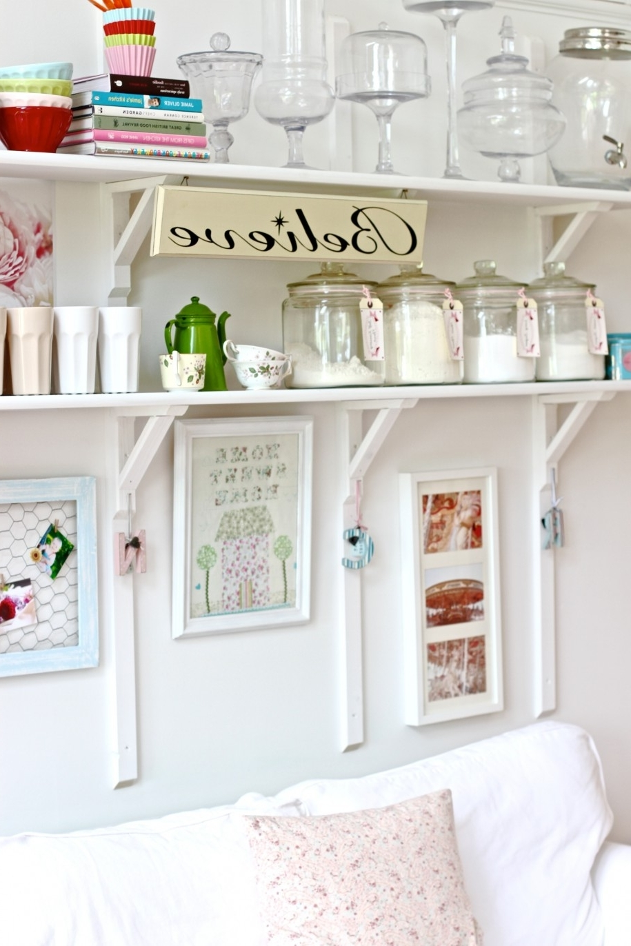 Painted Shelving Units With Most Up To Date Painted White Color Diy Wood Wall Mounted Folding Kitchen Shelving (View 6 of 15)