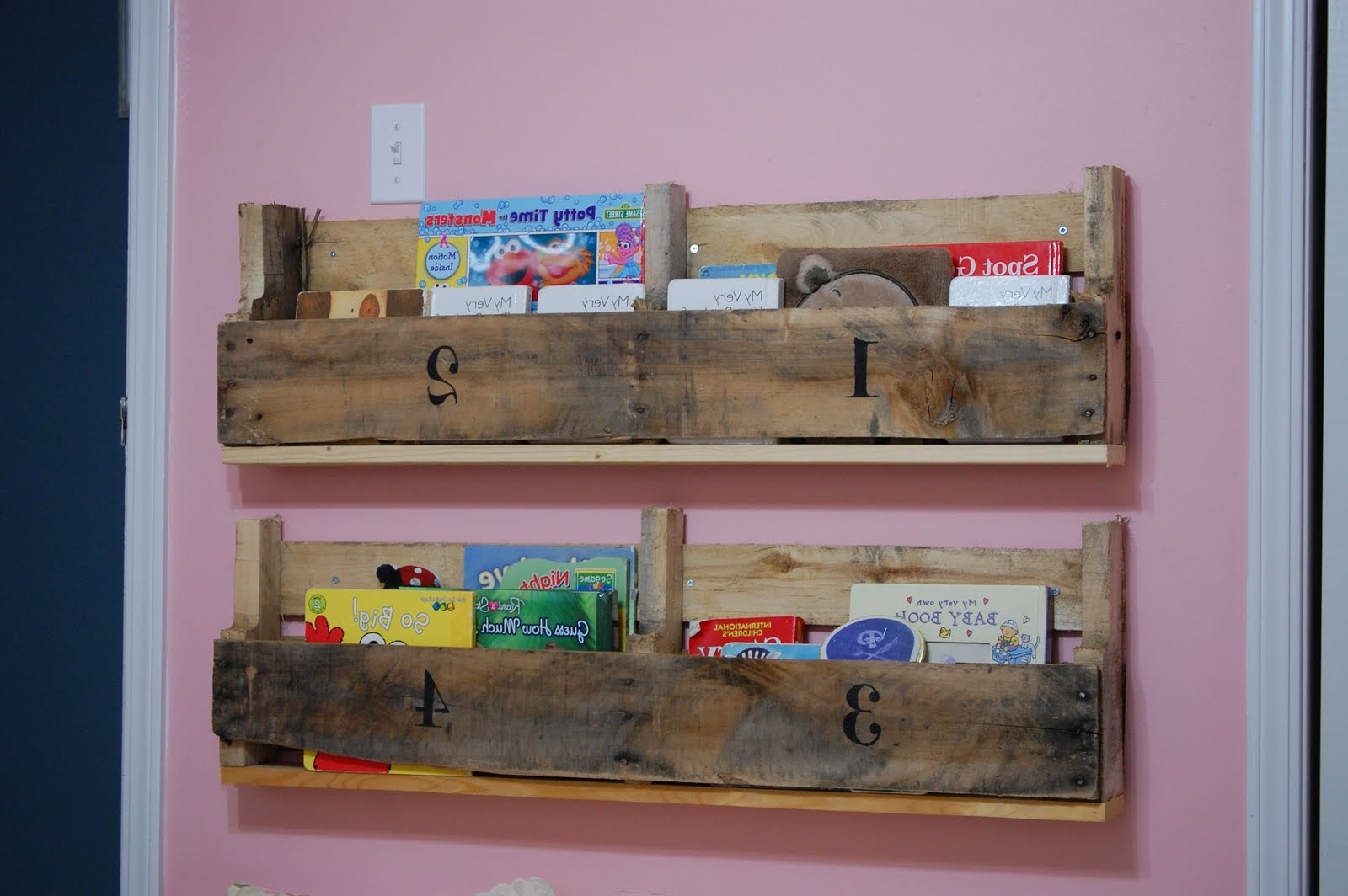 Pallet Bookcases For Current Creative Outlets Of A Thrifty Minded Momma: Wooden Pallet Bookshelf (View 5 of 15)