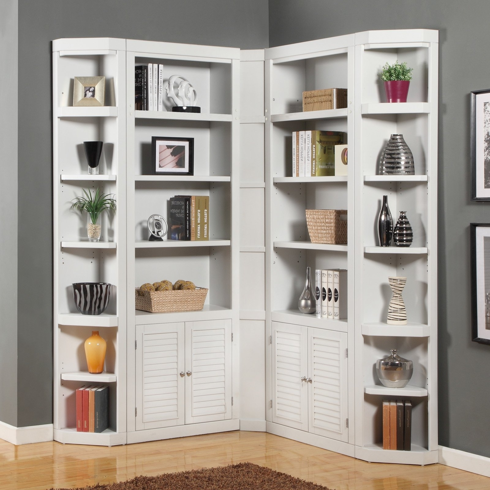 Parker House Boca Corner Bookcase – Cottage White (View 5 of 15)
