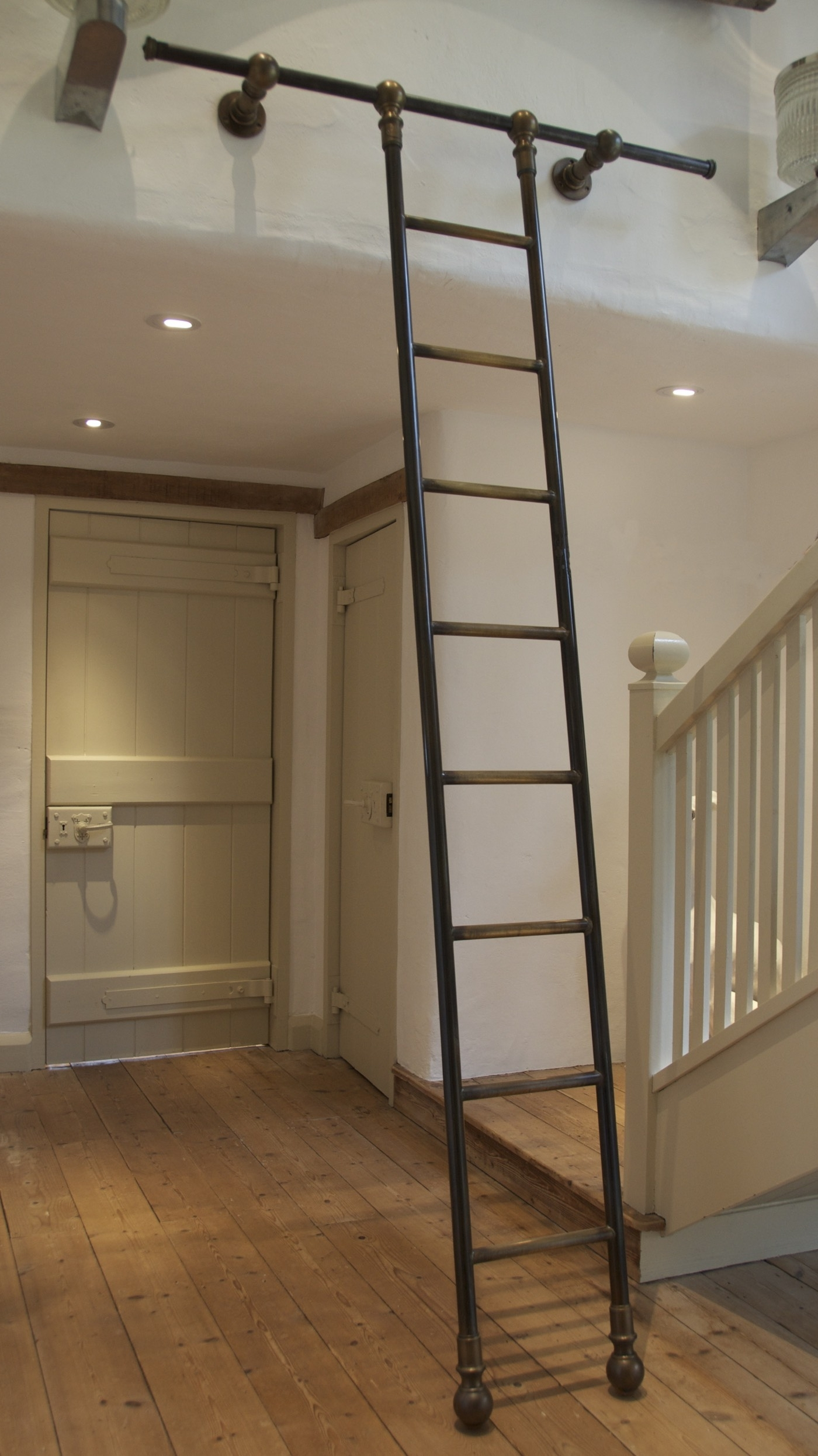 Perfect Diy Rolling Library Ladder Installation — Optimizing Home Inside Fashionable Rolling Library Ladder (View 12 of 15)