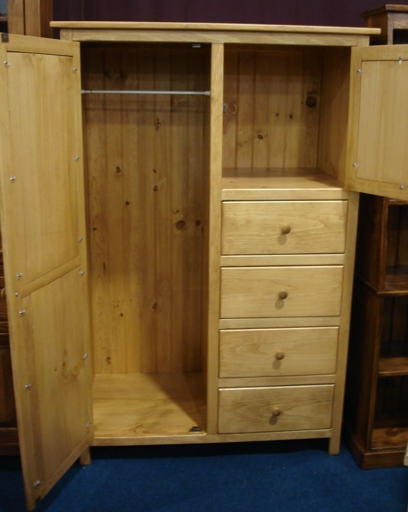 Pine Wardrobes With Drawers And Shelves Within Well Known Pine Wood Wardrobe Armoire From Dutchcrafters Amish Furniture (View 12 of 15)