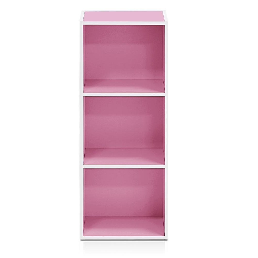 Pink Bookcases Inside Current Furinno White/pink 3 Tier Open Shelf Bookcase 11003Wh/pi – The (View 4 of 15)