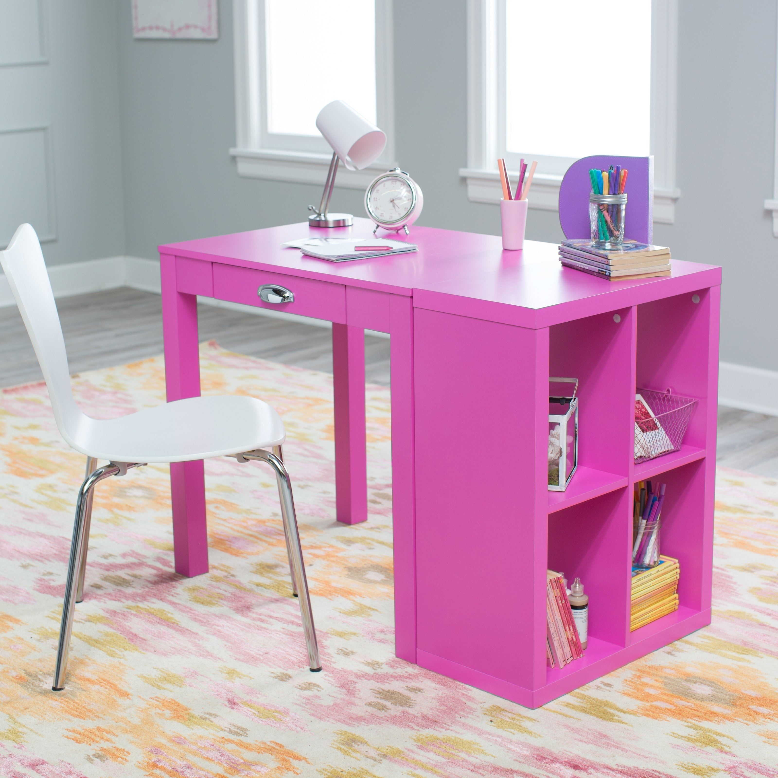 Pink Bookcases With Famous Classic Playtime Mini Writing Desk With Optional Bookcase – Pink (View 8 of 15)