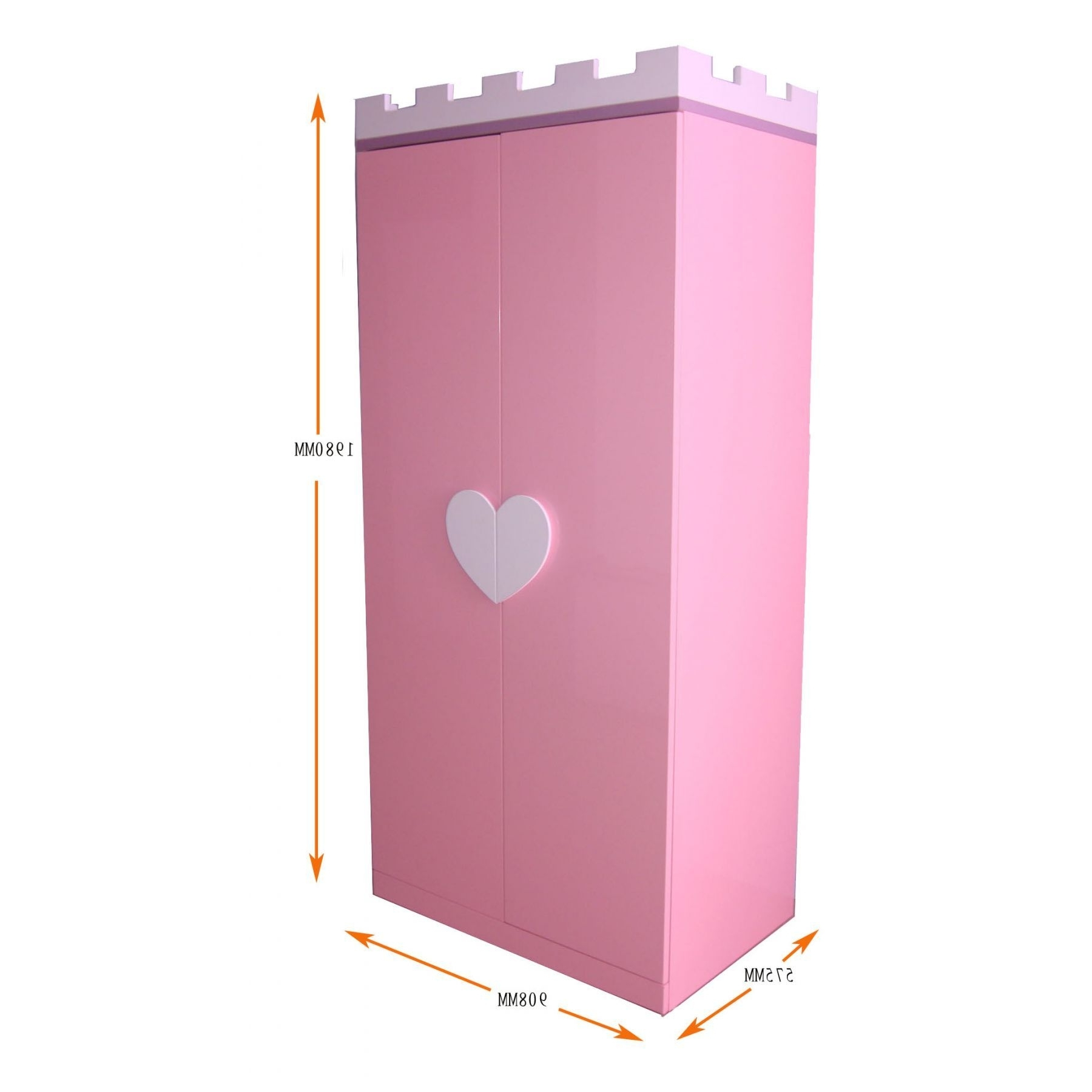 Pink Wooden Wardrobe With Double Door And White Love Handles Of With Regard To Best And Newest Childrens Pink Wardrobes (View 11 of 15)