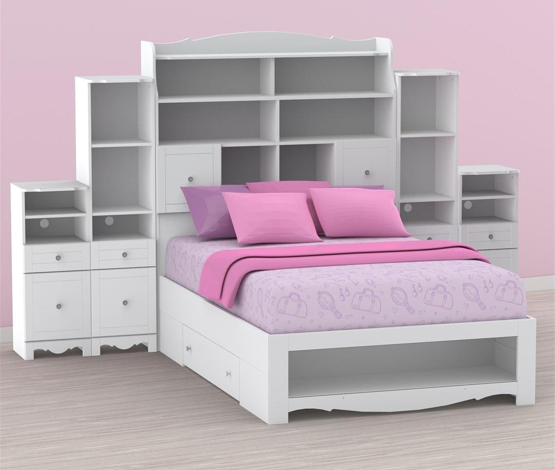 Pixel Full Size Bed With Storage Headboard And Pink Cushions Throughout Fashionable Full Size Headboard Bookcases (View 10 of 15)