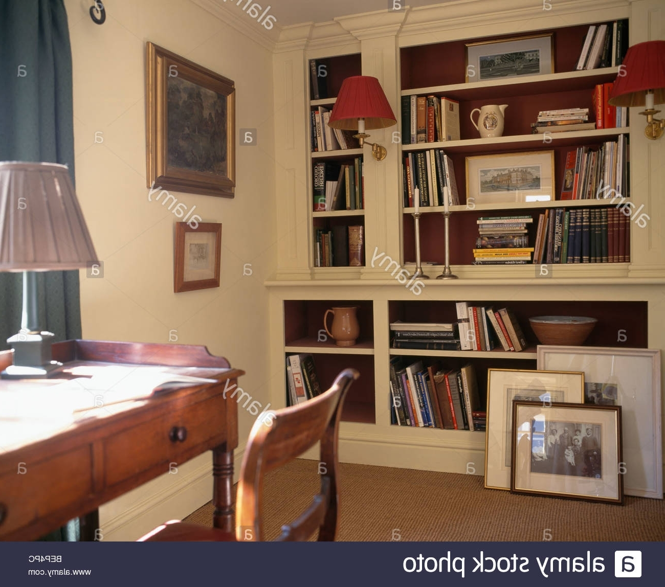 Popular Antique Desk And Chair In Traditional Study With Fitted For Fitted Bookshelves (View 13 of 15)