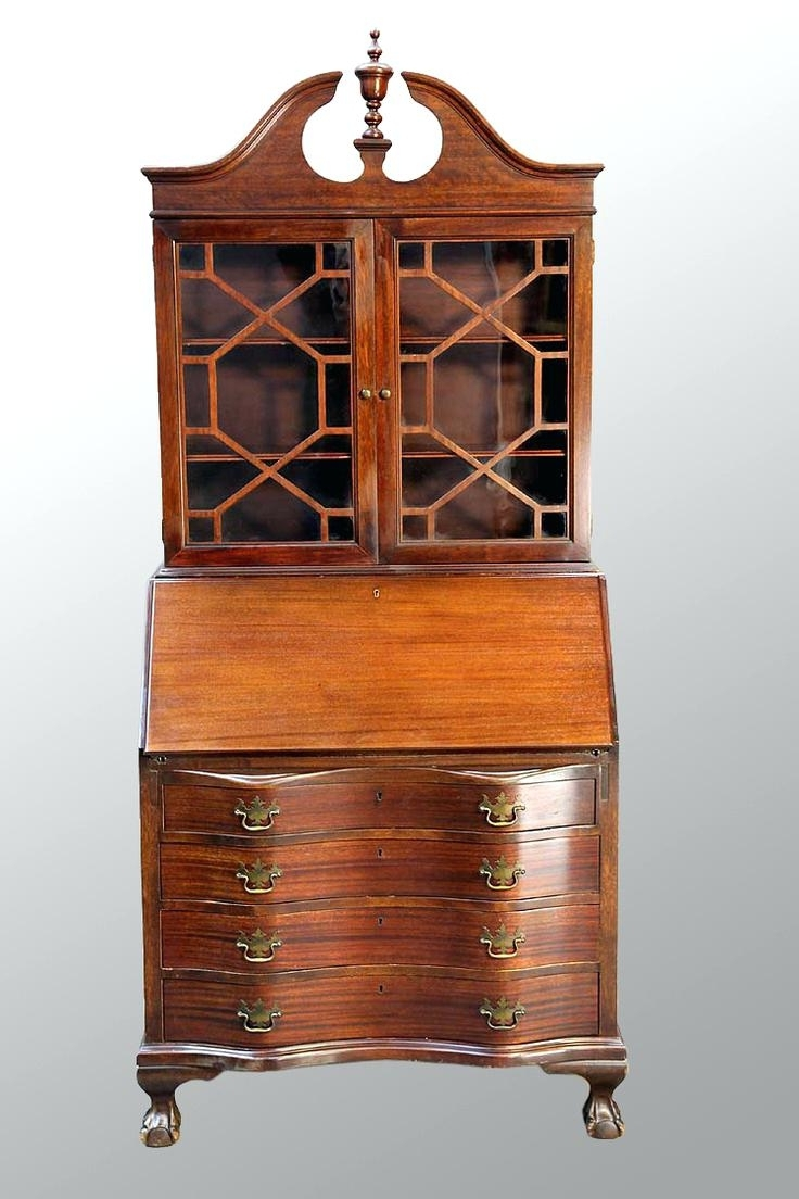 Popular Antique Drop Front Secretary Desk With Bookcases With Regard To Antique Drop Front Secretary Desk With Bookcase – Zivile (View 14 of 15)