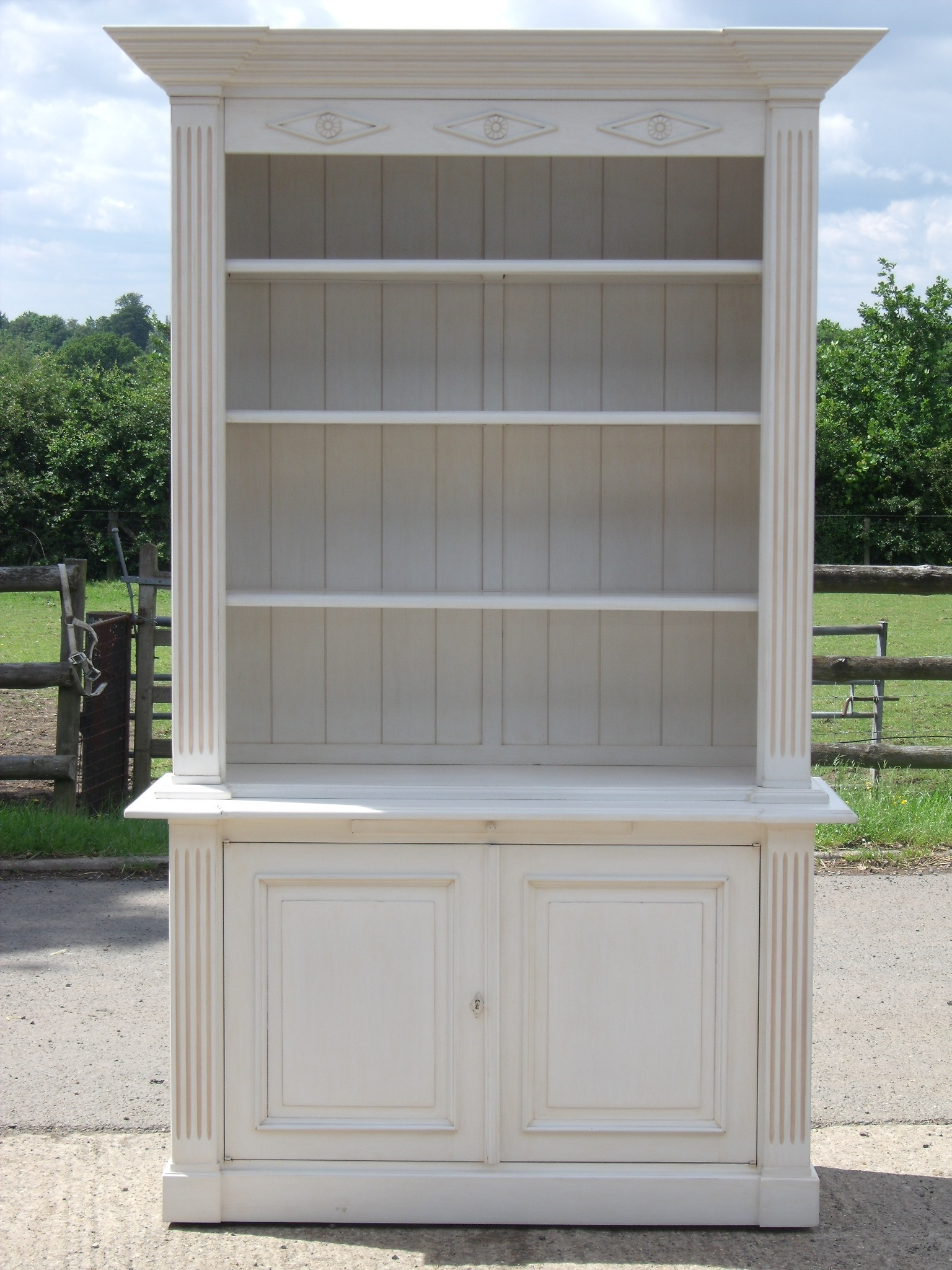 Popular Bookcases With Cupboard Under Pertaining To Classically Styled French Painted Bookcase With Cupboard Below (View 2 of 15)
