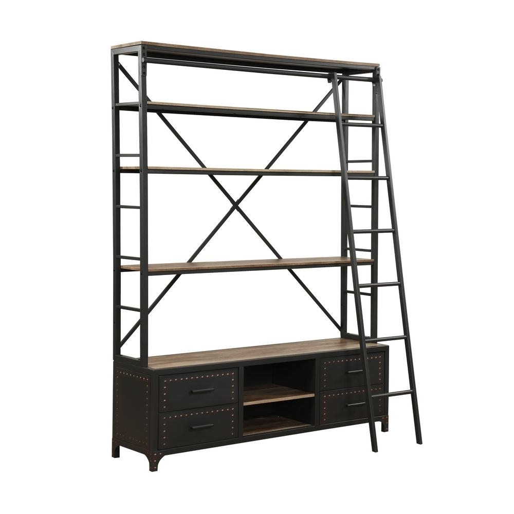 Popular Bookcases With Ladder Within Acme Furniture Actaki Etagere Sandy Gray Bookcase With Ladder (View 8 of 15)