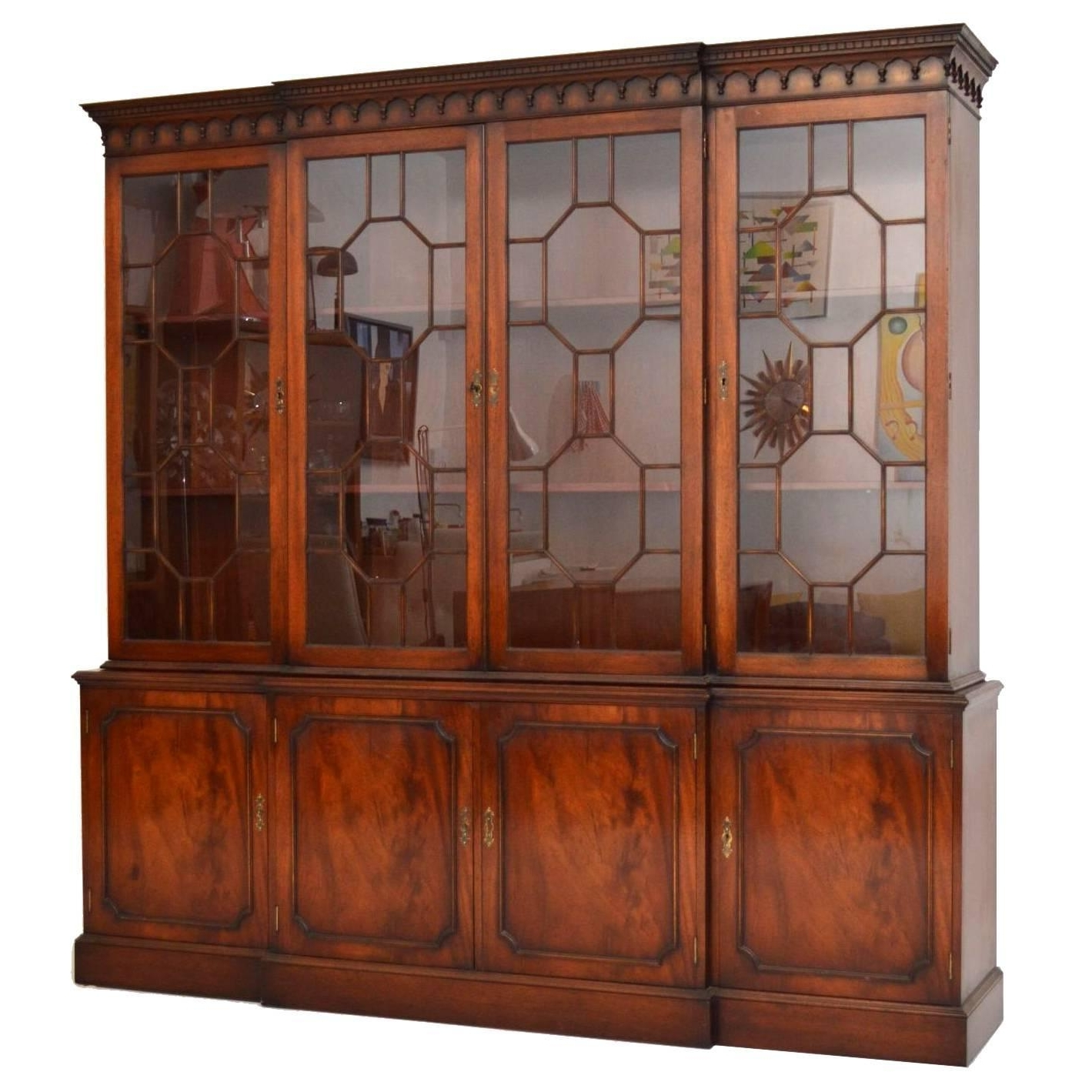 Popular Break Front Bookcases Within Antique Georgian Style Mahogany Breakfront Bookcase At 1stdibs (View 2 of 15)