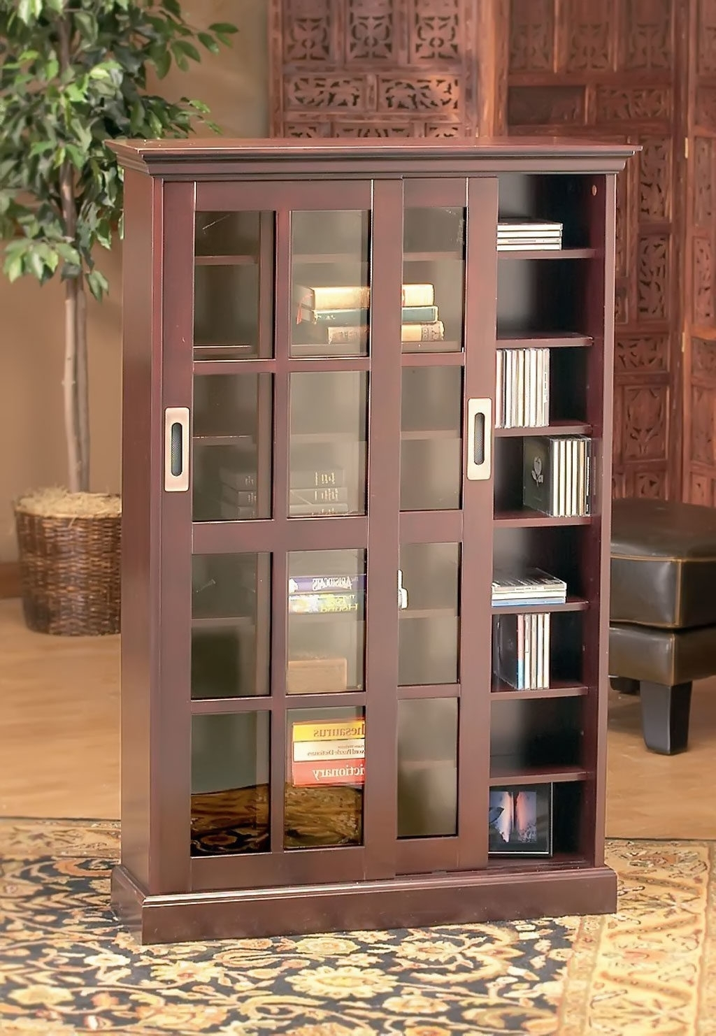 Popular Classic Bookshelves For Brown Tall Wooden Bookcase With Sliding Glass Doors On Semi (View 5 of 15)