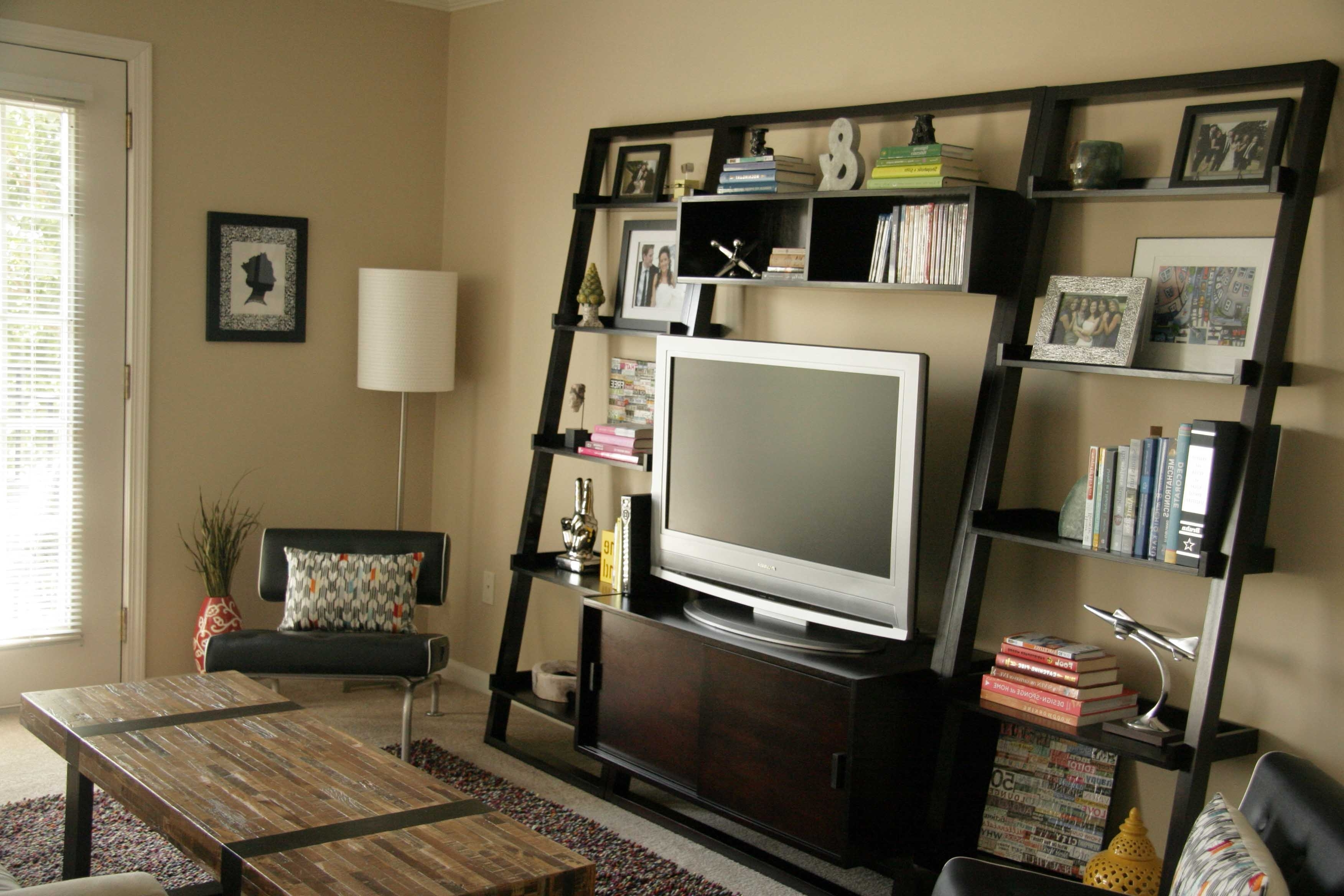 Popular Custom Wood Cool Homemade Tv Stands With Vertical Bookshelf And Pertaining To Tv Book Shelf (View 8 of 15)