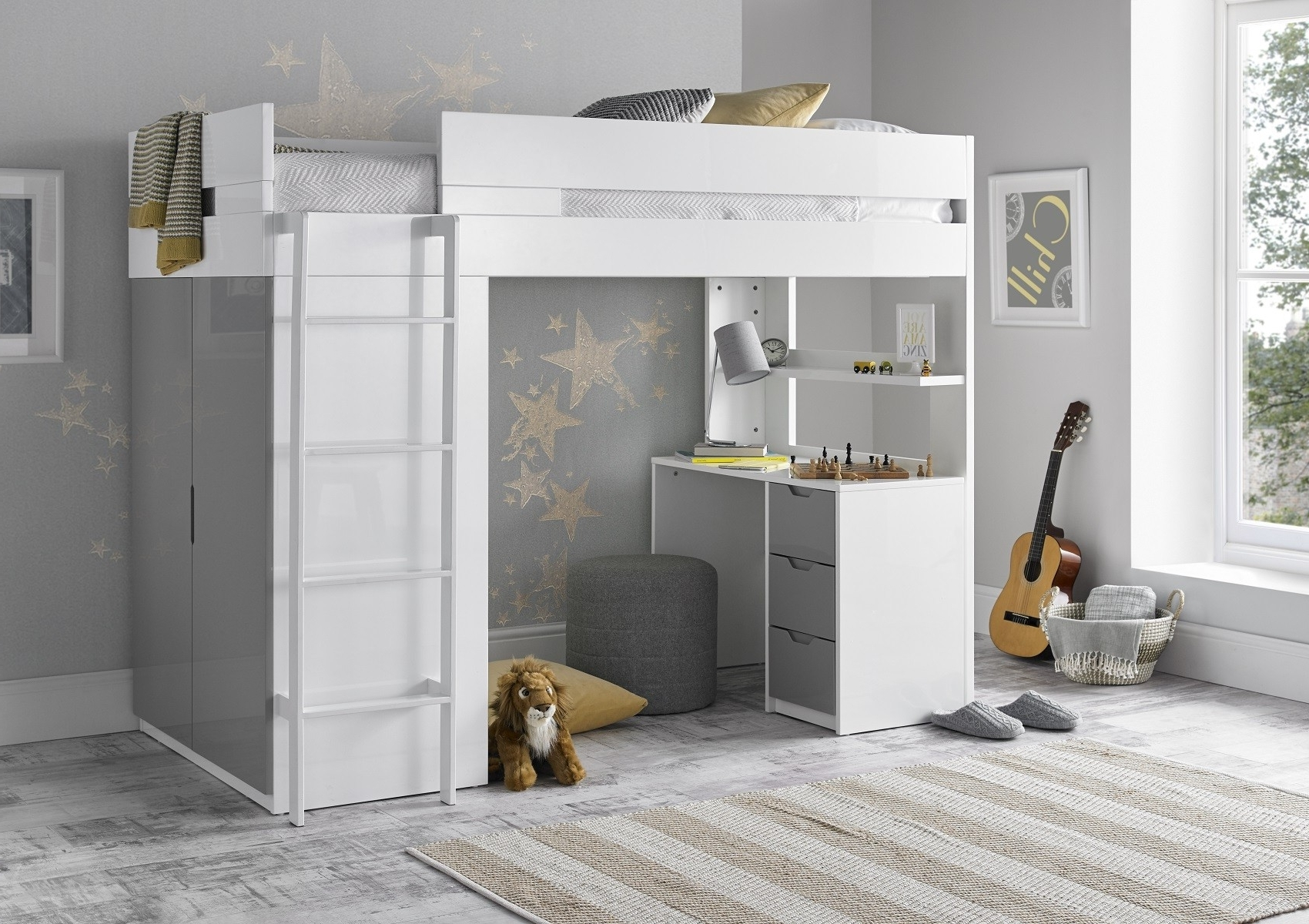 Popular Double Rail Childrens Wardrobes Within Kids Room : Grey Color Bed For Kids High Sleeper Bed For Kids With (View 15 of 15)