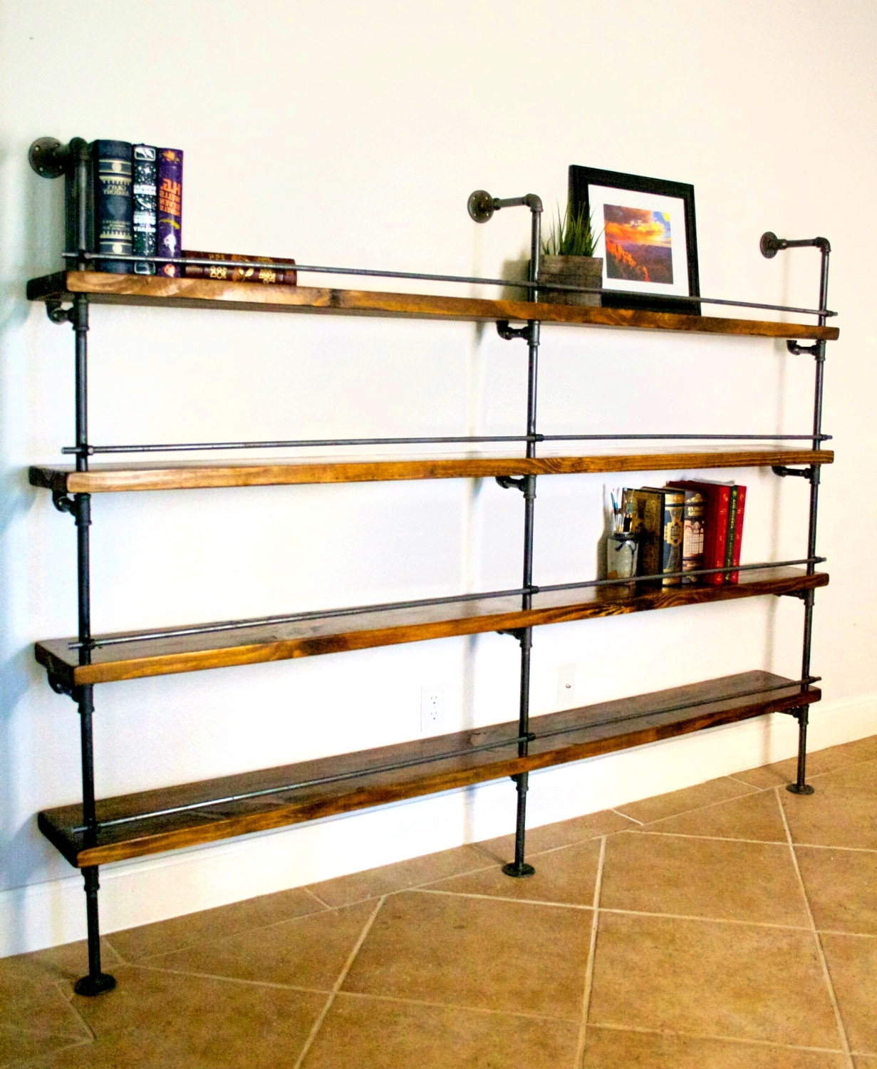 Popular Furniture Home: Industrial Style Bookcase Steel And Dark Wood Book With Regard To Industrial Style Bookcases (View 2 of 15)