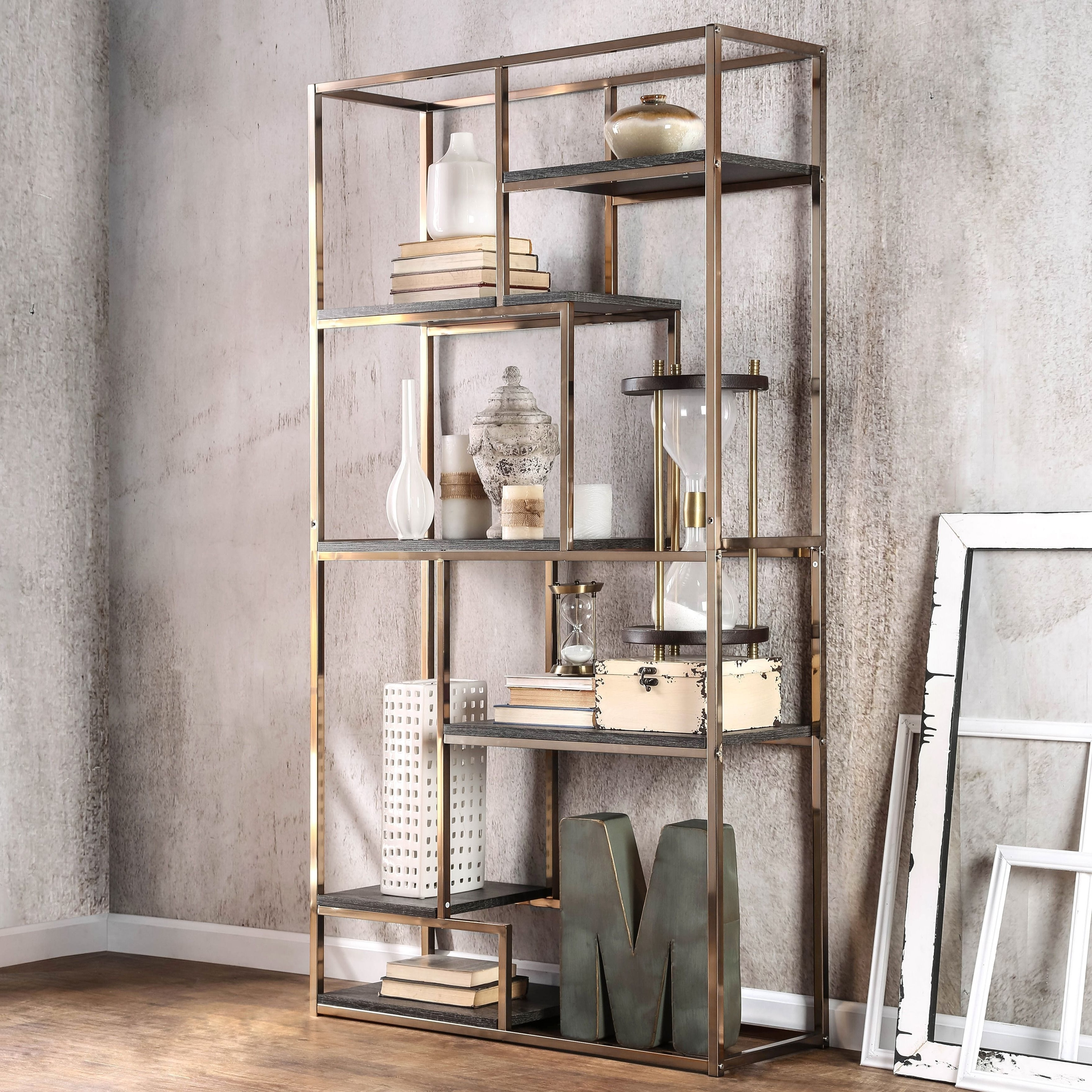 Popular Gold Metal Bookcases In Furniture Of America Nara Contemporary 6 Shelf Tiered Open (View 14 of 15)