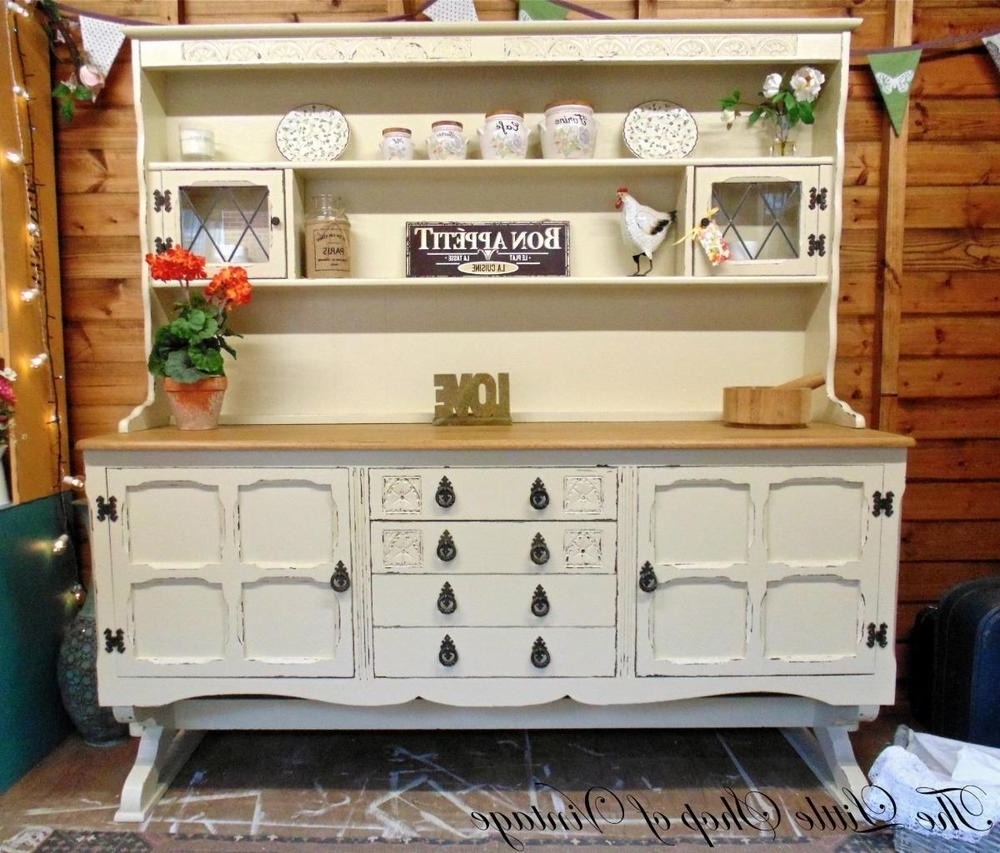 Popular Jaycee Old Charm Large Dresser Sideboard Cupboard Cabinet Shabby With Large Cupboard With Shelves (View 11 of 15)
