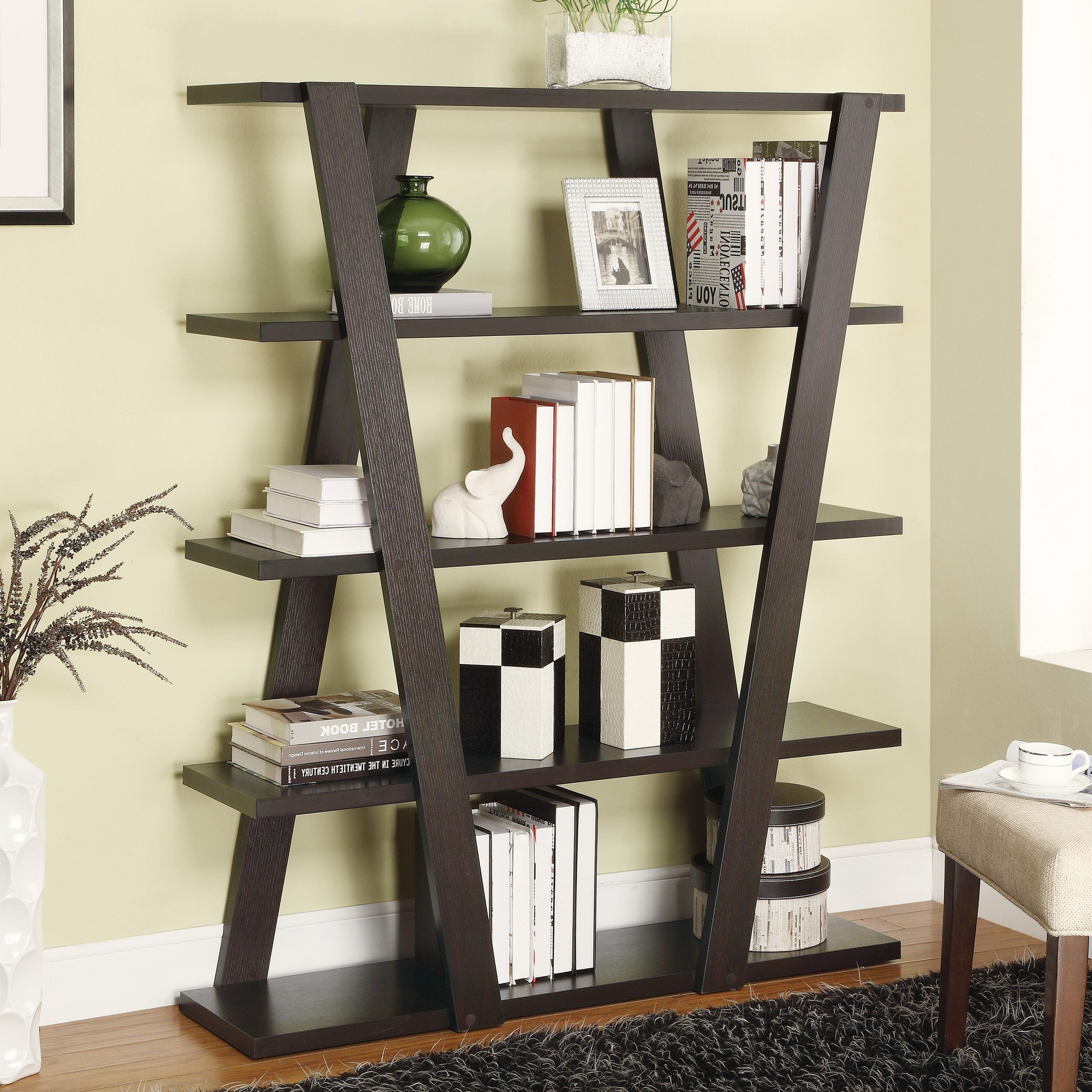 Popular Modern Bookcases Inside Coaster Bookcases Modern Bookshelf With Inverted Supports & Open (View 11 of 15)