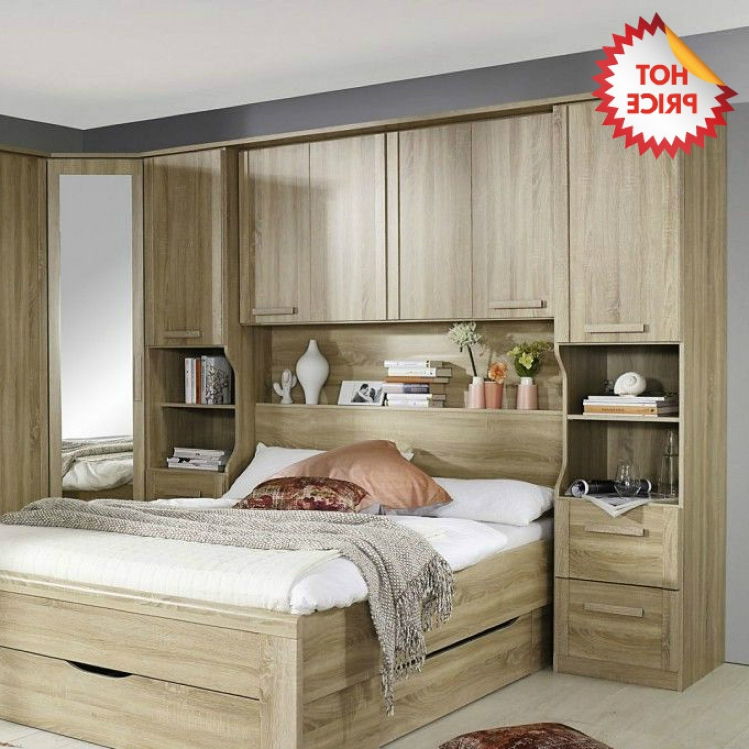 Popular Rauch Rivera Overbed Bridging Unit With Wall Panel & Book Storage Throughout Overbed Wardrobes (View 14 of 15)