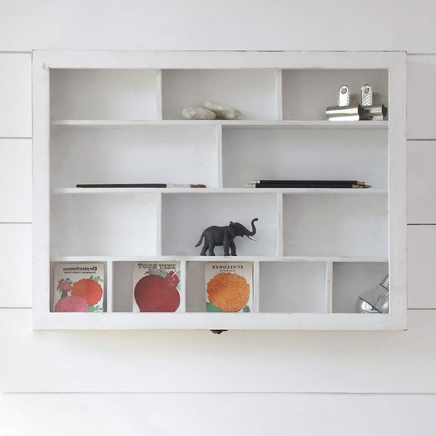 Popular Wall Shelving Units With White Hi Compartment Shabby Chic Wooden Shelf Unit Is Wall Mounted (View 7 of 15)