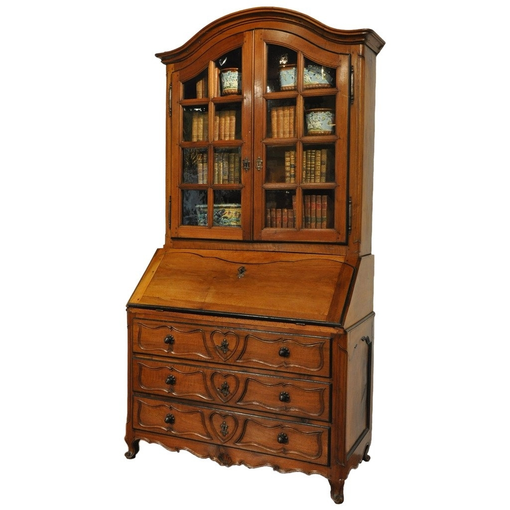 Preferred 18th Century French Louis Xv Carved Walnut Secretary Bookcase With Inside Secretary Bookcases (View 4 of 15)