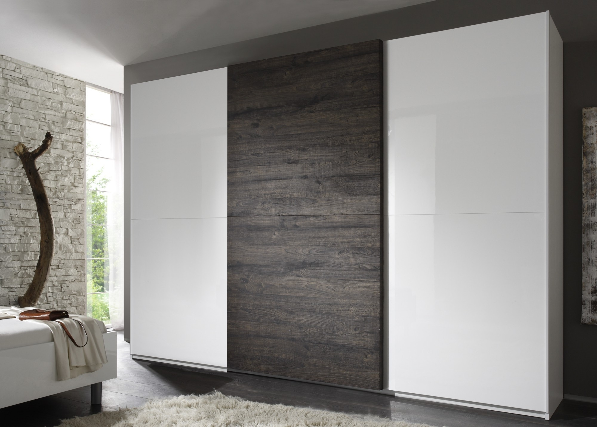 Preferred 3 Door White Wardrobes Intended For Tambura Sliding 3 Doors Wardrobe, White + Wenge Buy Online At Best (View 12 of 15)