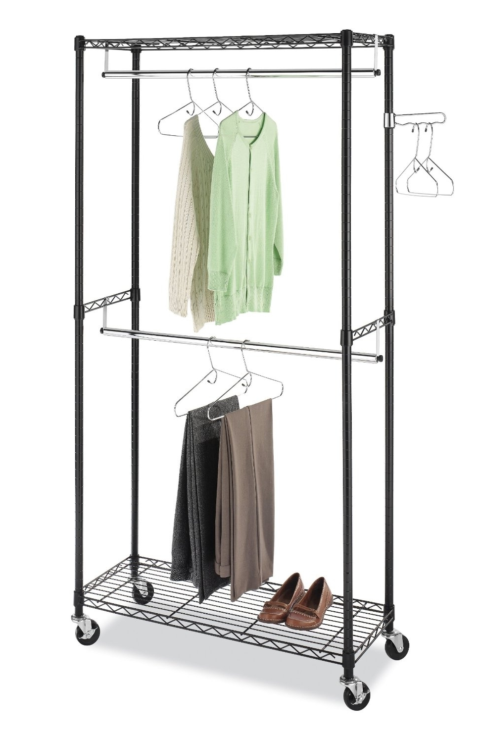 Preferred Amazon – Whitmor 6070 3366 Bb Supreme Double Rod Garment Rack Regarding Double Black Covered Tidy Rail Wardrobes (View 11 of 15)