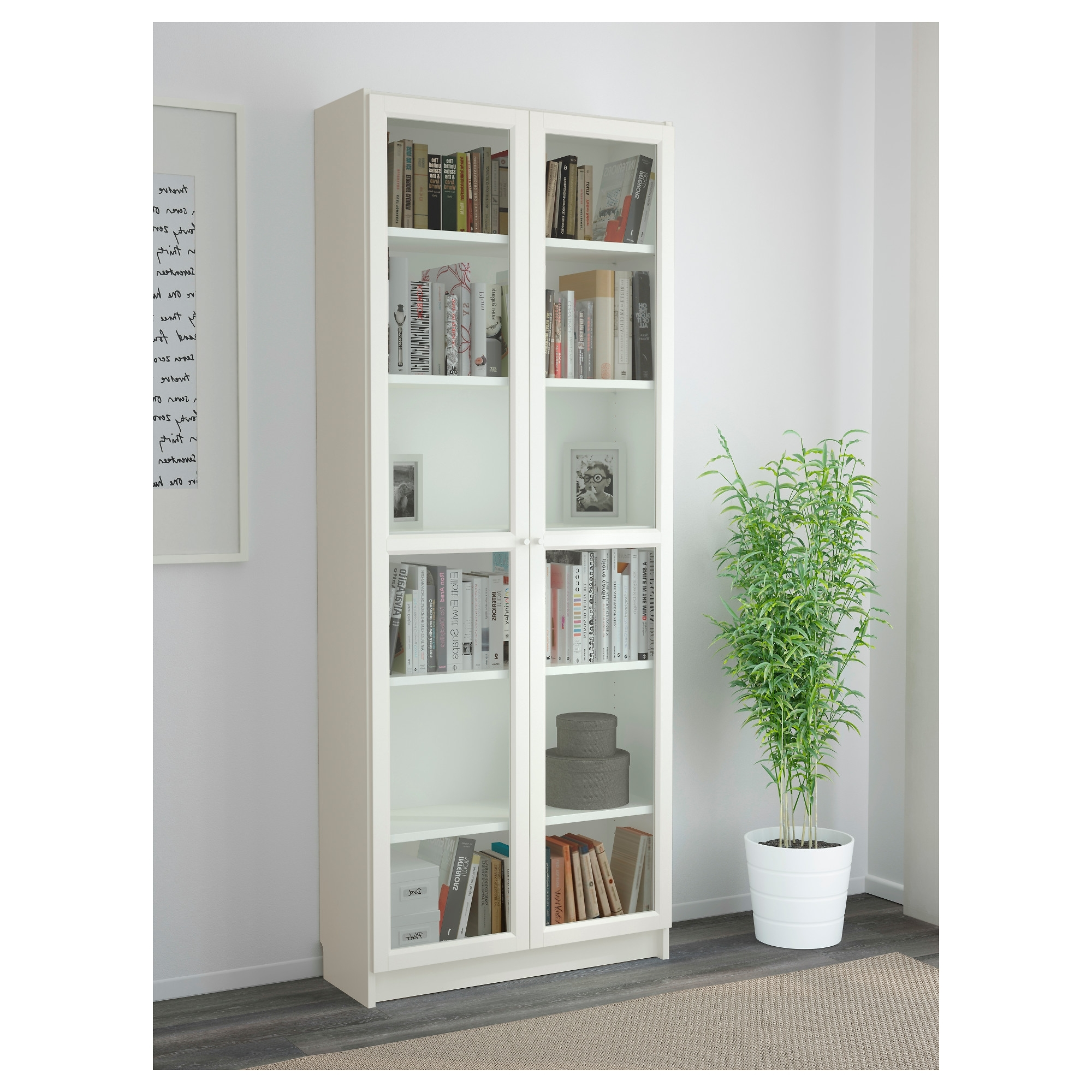 Preferred Billy / Oxberg Bookcase – White, 80x202x30 Cm – Ikea Inside White Bookcases With Glass Doors (View 9 of 15)