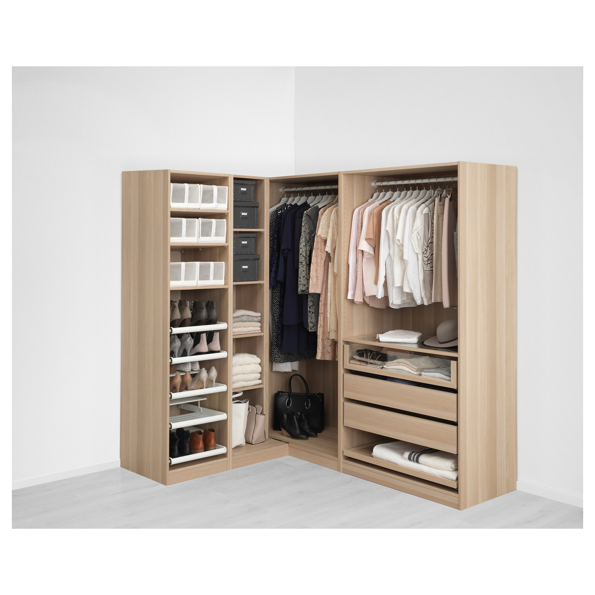 Preferred Corner Wardrobes Closet Ikea Regarding Pax Corner Wardrobe White  Stained Oak Effect/nexus Vikedal