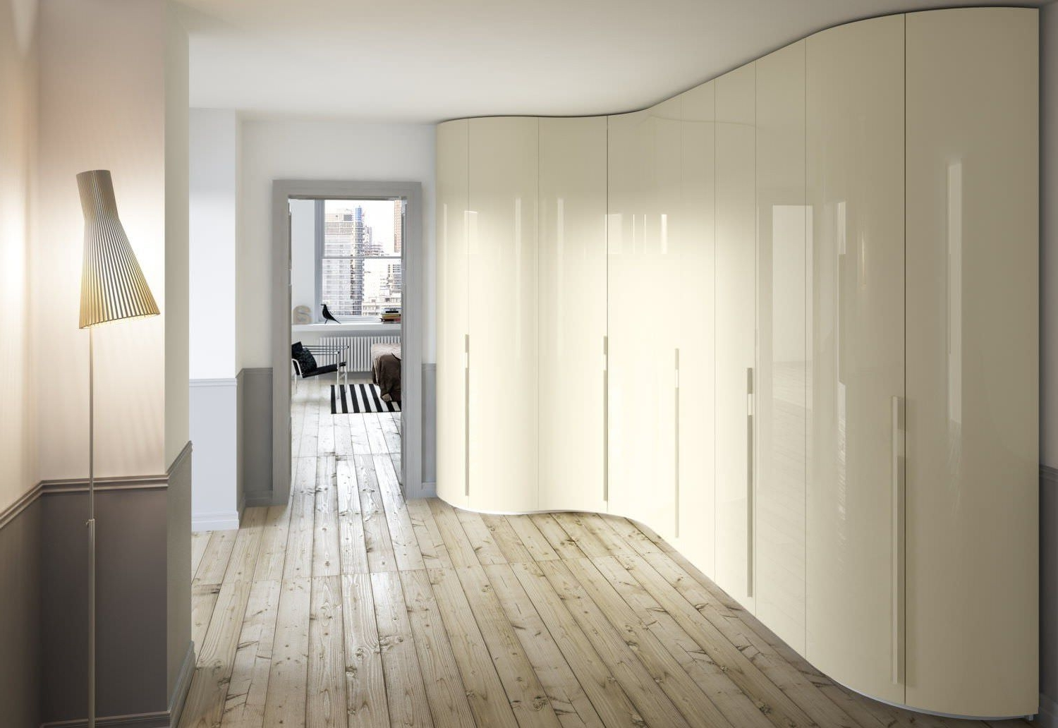Preferred Curved Corner Wardrobes Doors For Corner Wardrobe / Contemporary / Wooden / Glossy Lacquered Wood (View 12 of 15)