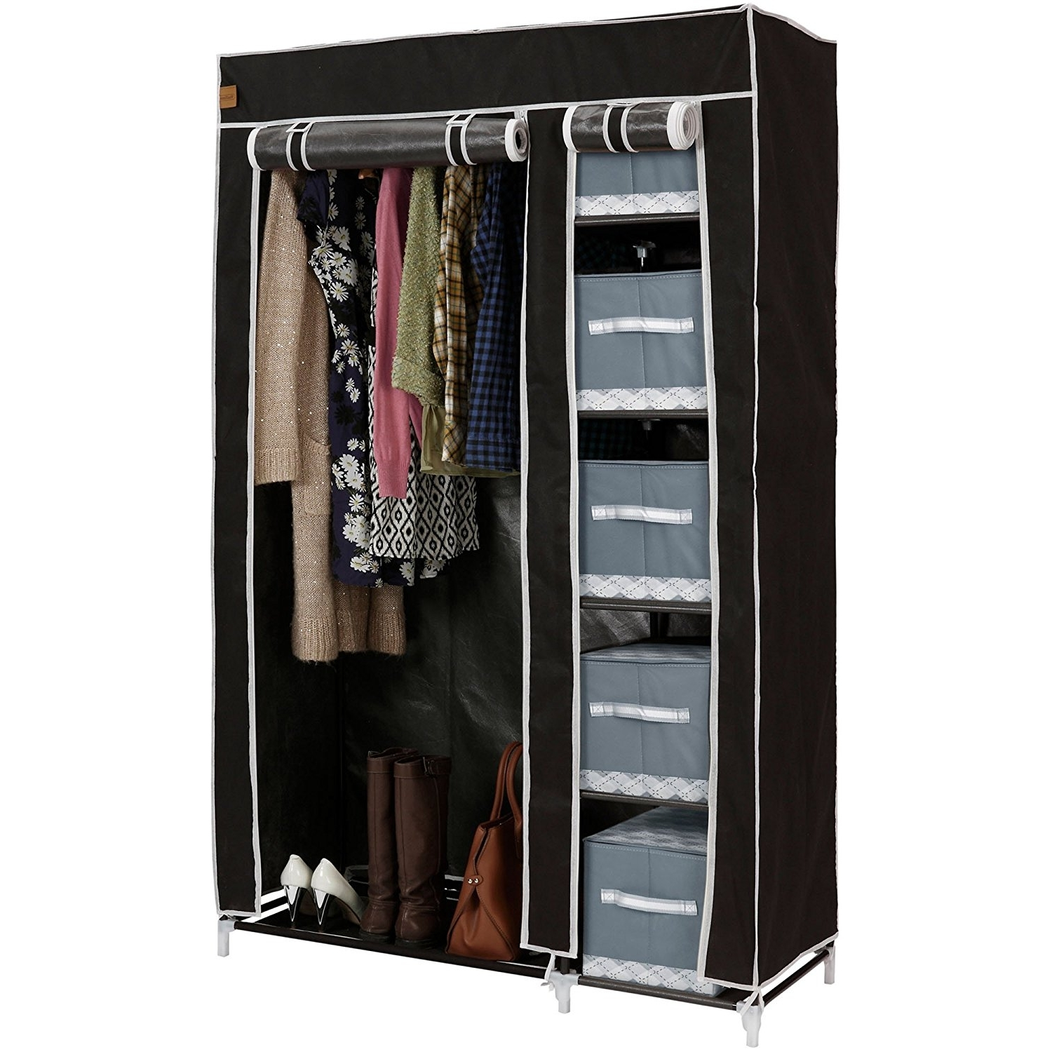Preferred Double Black Covered Tidy Rail Wardrobes Pertaining To Vonhaus Double Canvas Effect Wardrobe – Clothes Storage Cupboard (View 12 of 15)