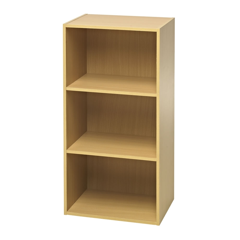 Preferred Flat Pack Bookcases Intended For Wilko Functional 3 Tier Shelving Unit Oak Effect At Wilko (View 13 of 15)