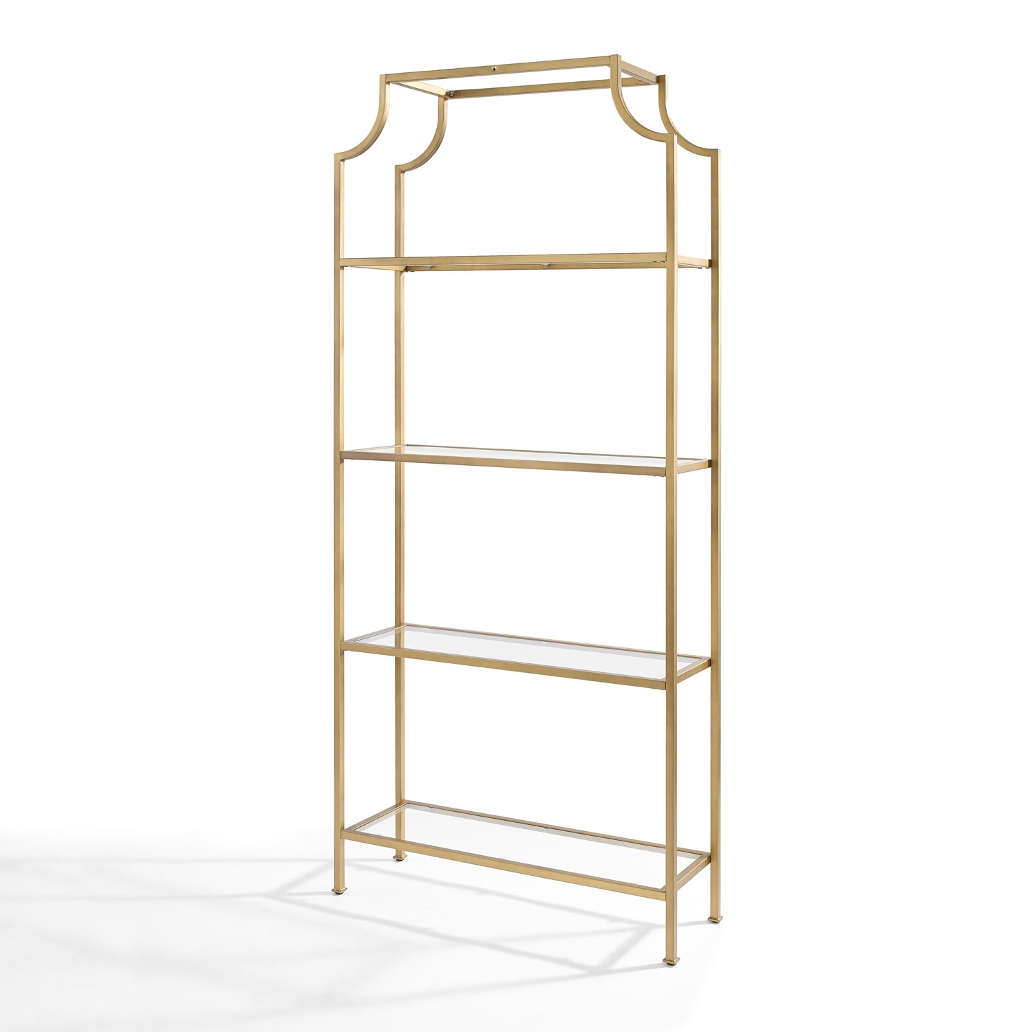 Preferred Gold Metal Bookcases Pertaining To Crosley Furniture Aimee Gold Glass Etagere (View 5 of 15)
