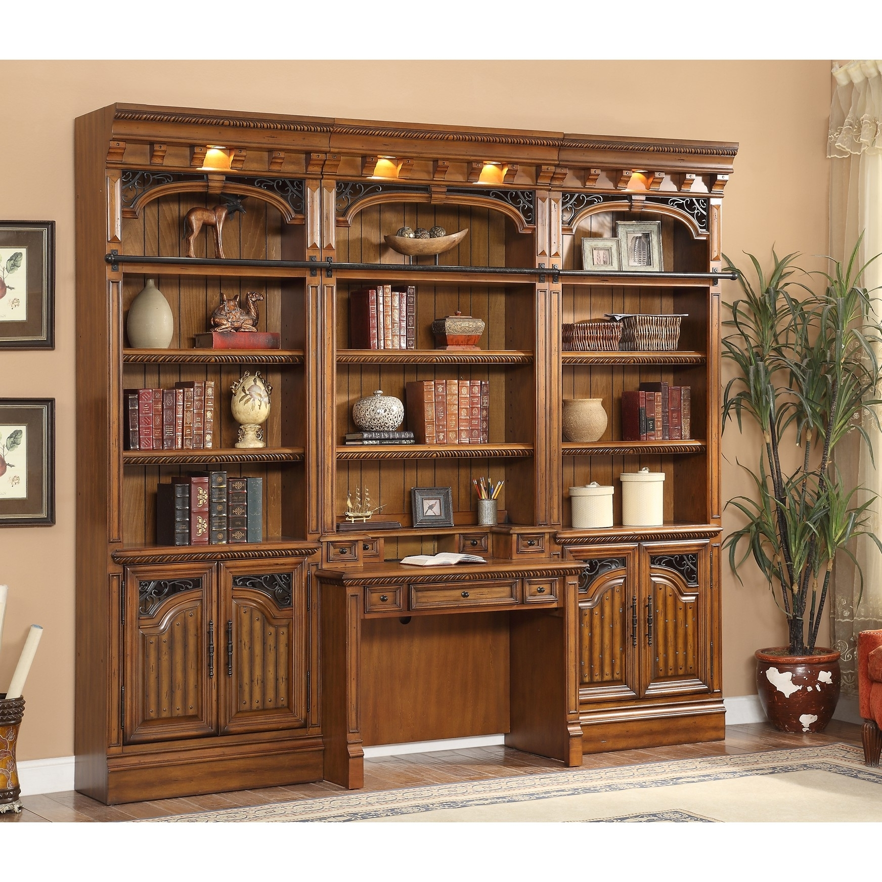 bookcase duty doors traditional heavy with solid x library oak ladder bookcases bkl pin