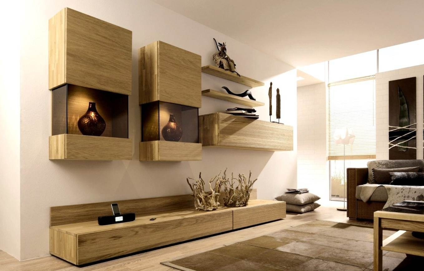 Preferred Living Room Storage Units Intended For Funiture: Contemporary Wall Hanging Shelf And Storage Made Of Wood (View 13 of 15)