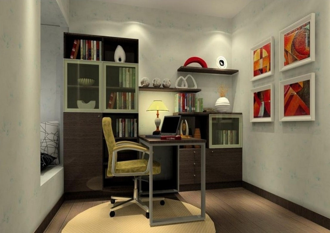 Preferred Office & Workspace : Grey Modern Study Room Feature Grey Wall In Study Shelving (View 10 of 15)