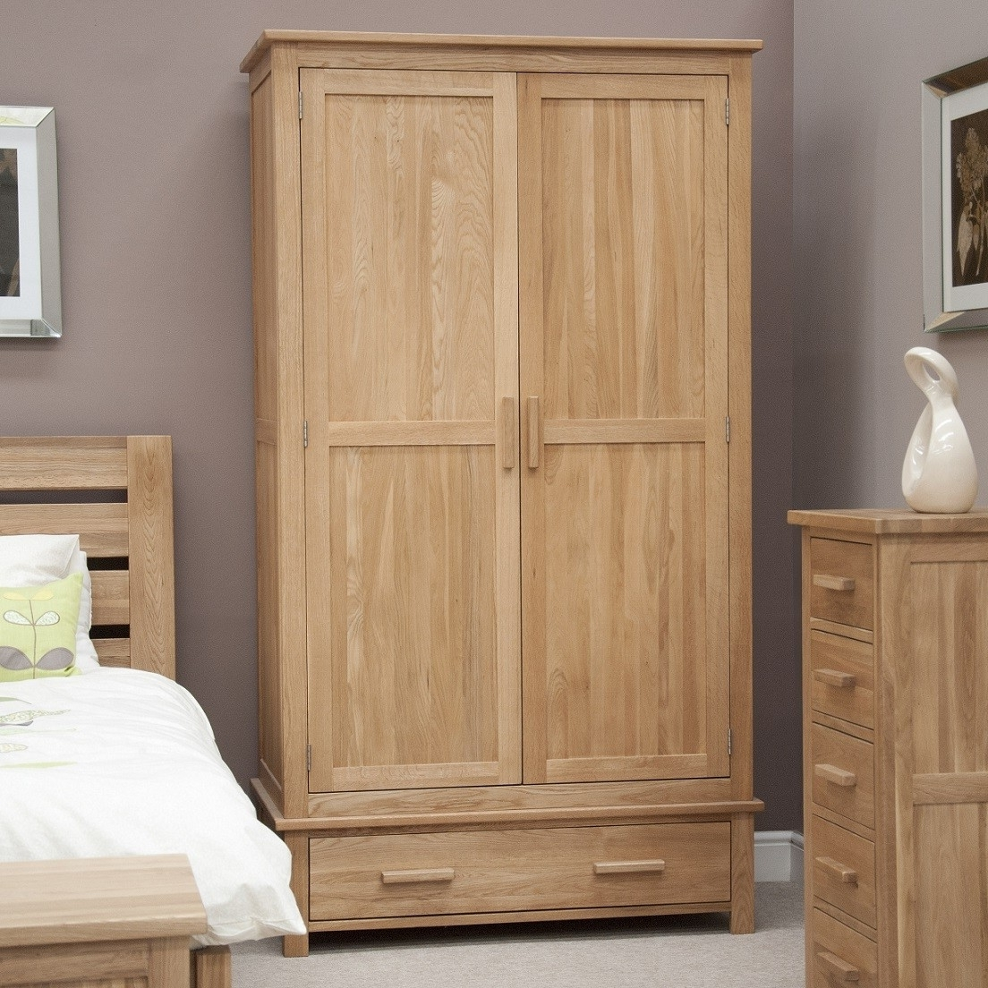 Preferred Opus Solid Oak 2 Door Gents Double Wardrobe (View 12 of 15)