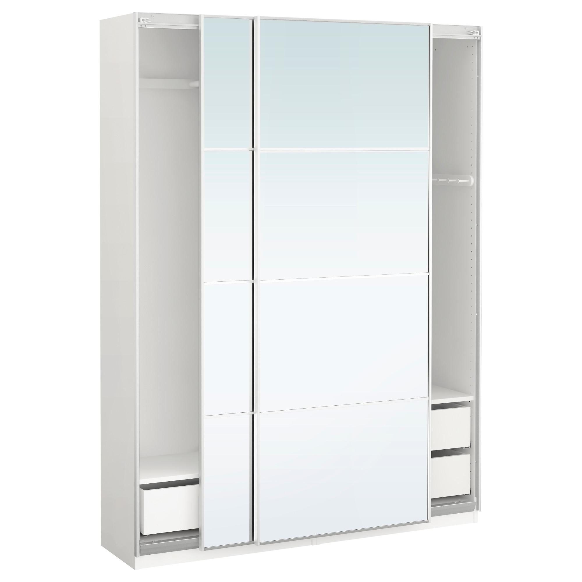 Preferred Pax Wardrobe White/auli Mirror Glass 150X44X201 Cm – Ikea Within Fitted Wardrobe Depth (View 12 of 15)