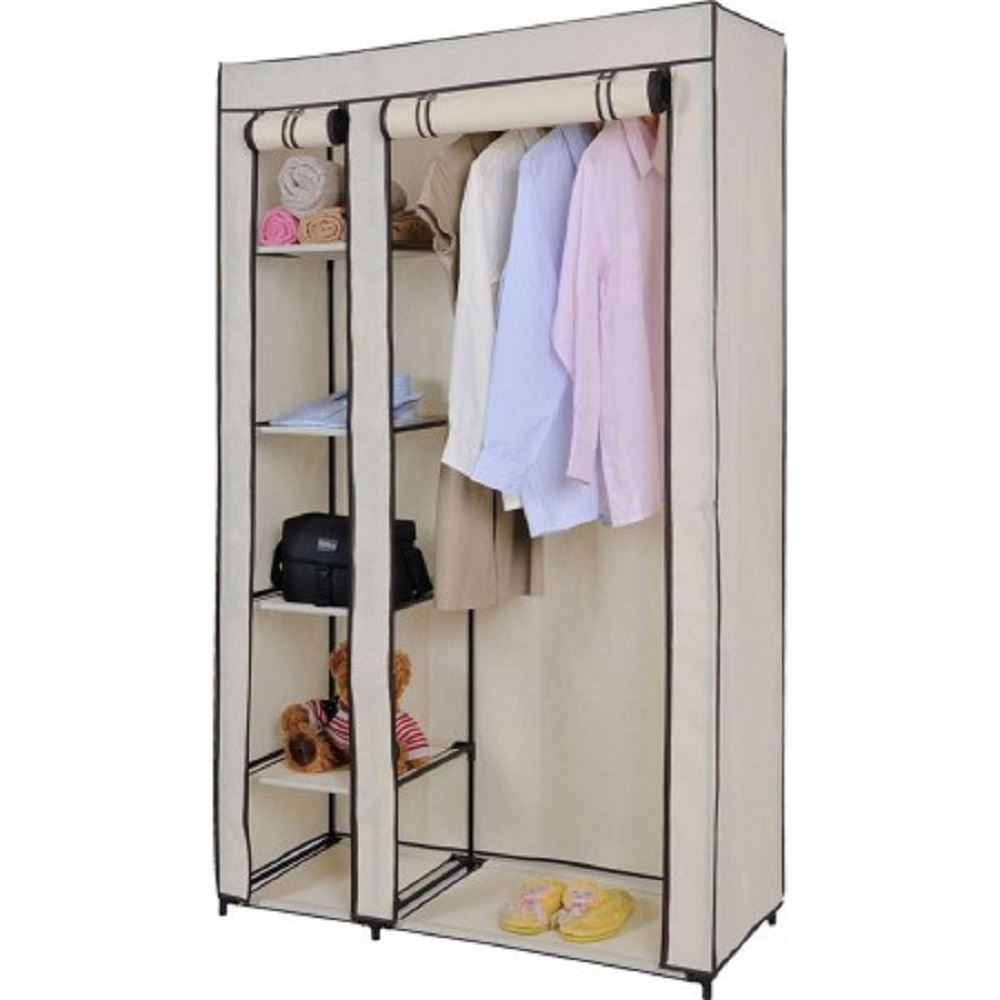 Preferred Vinsani Double Canvas Wardrobe Clothes Cupboard Hanging Rail Regarding Double Wardrobes Hanging Rail And Supports (View 13 of 15)