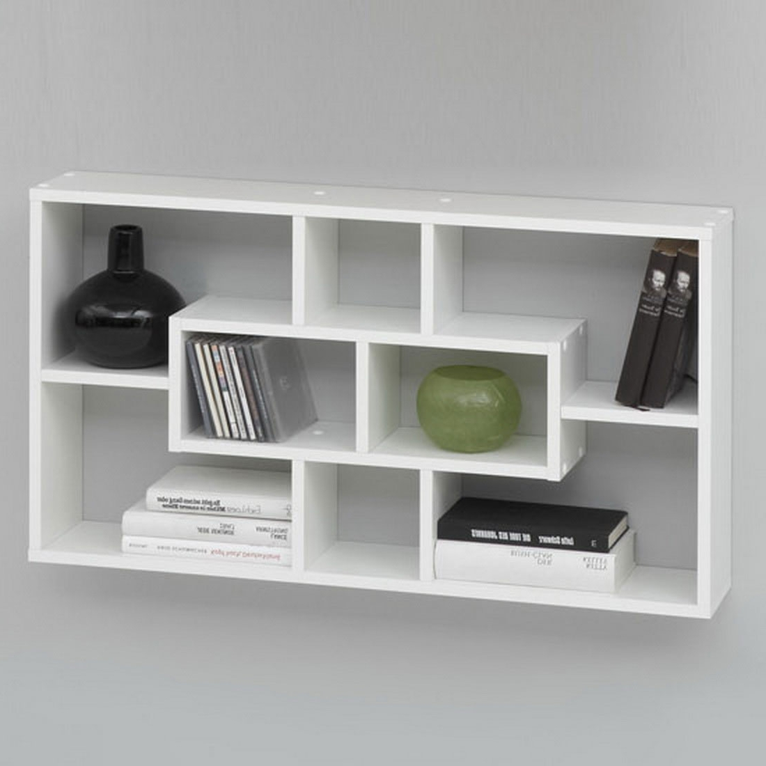 Preferred Wall Mounted Bookcases Inside Captivating White Wall Hanging Bookcase Design Simple Rectangle (View 10 of 15)