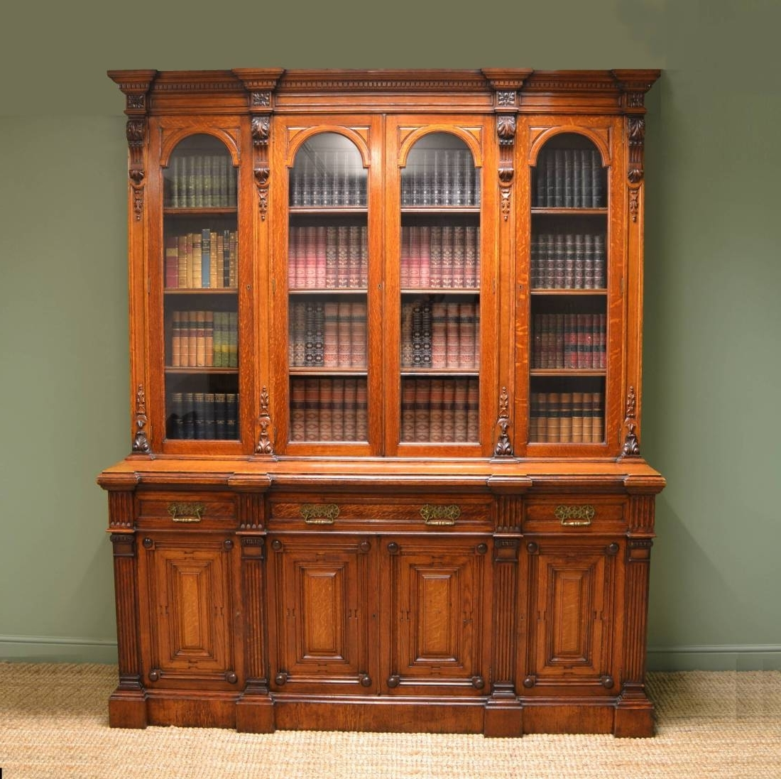 Quality Solid Oak Victorian Antique Bookcase On Cupboard For Intended For Most Current Vintage Bookcases (View 10 of 15)