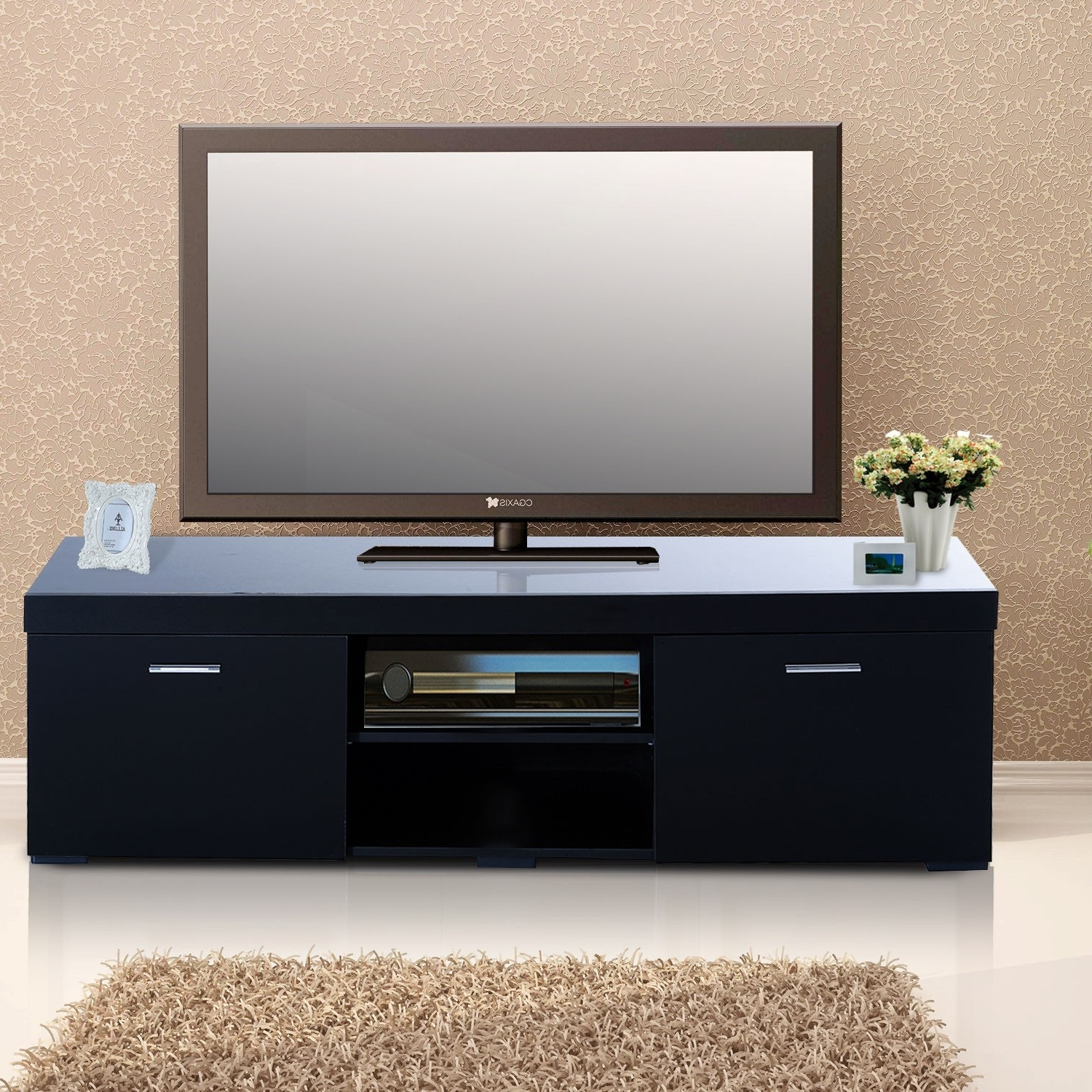 Radiator Cover Tv Stand With Regard To Well Known Homcom 2 Tier Tv Stand, 140lx40wx44h Cm Black (View 11 of 15)