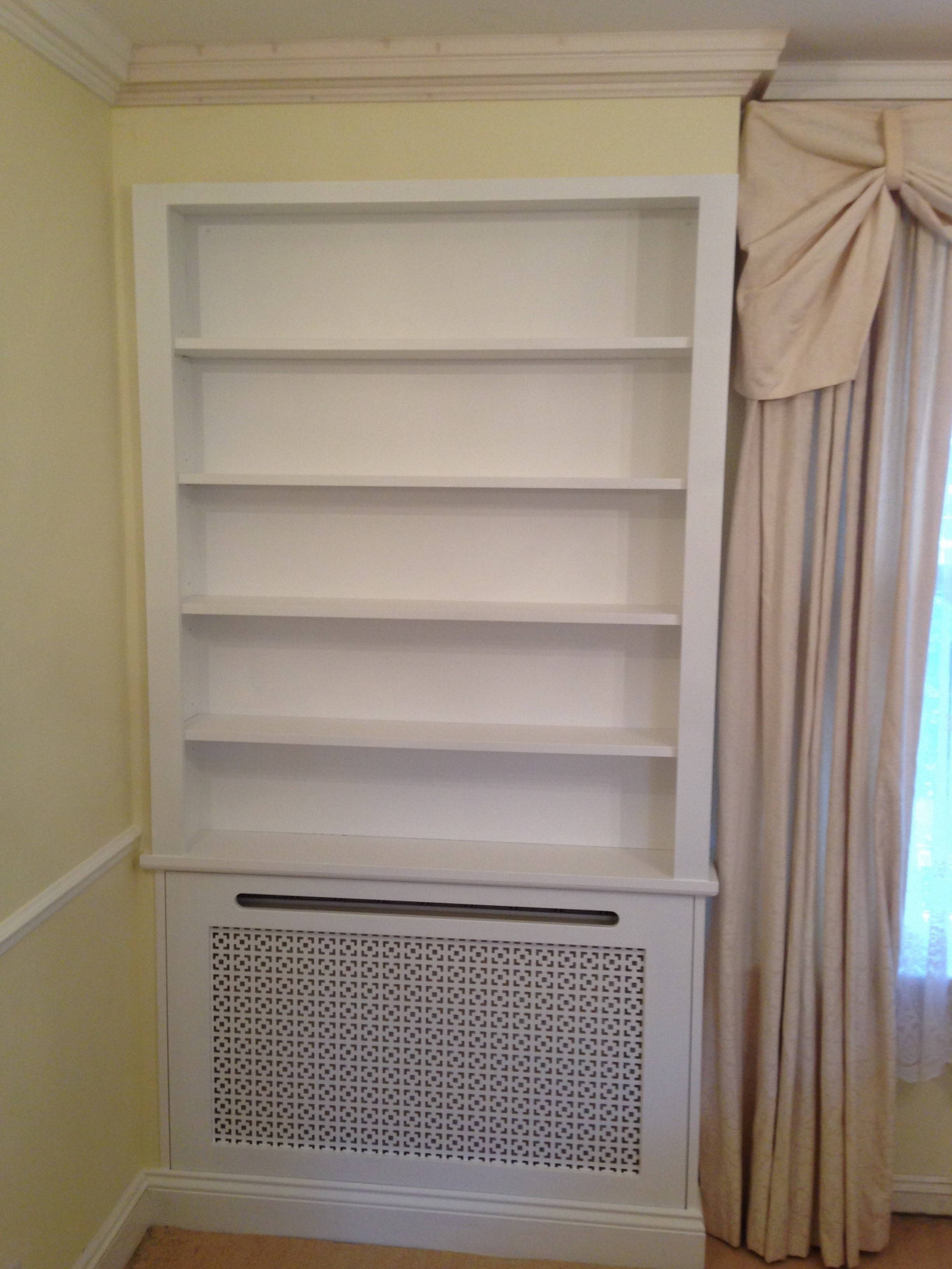 Radiator Cover With Bookcases Pertaining To Widely Used Radiator Cover Bookcase – Harrow Builders And Bespoke Joinery – Lj (View 10 of 15)