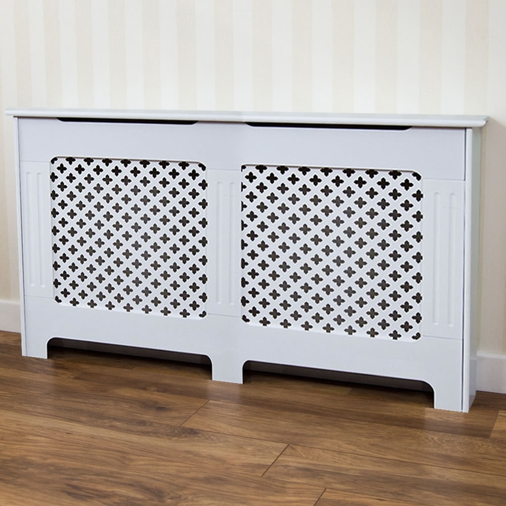 Radiator Cupboards Pertaining To Widely Used Oxford Radiator Cover White Large At Wilko (View 11 of 15)