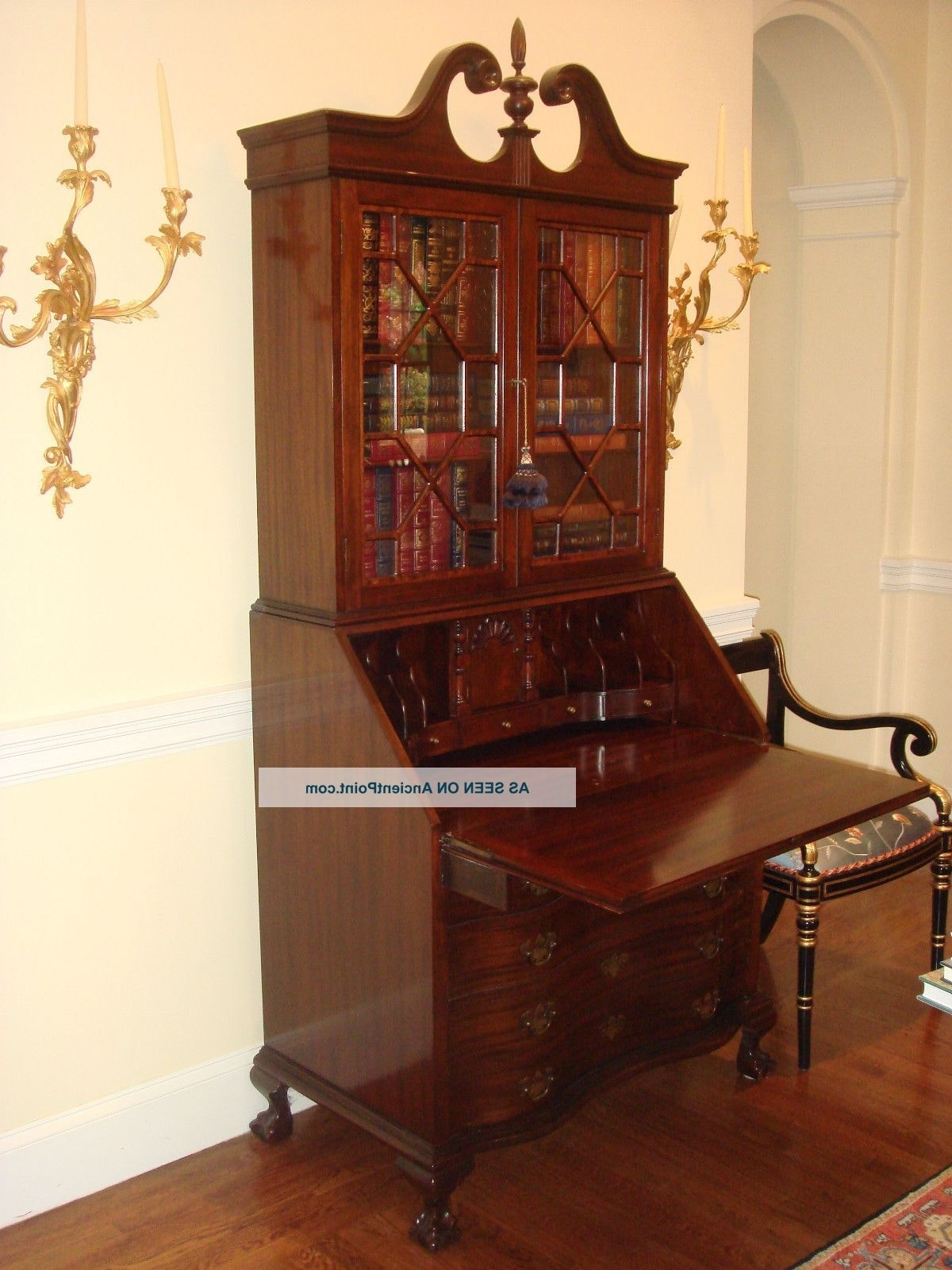 Showing Gallery Of Antique Drop Front Secretary Desk With Cases