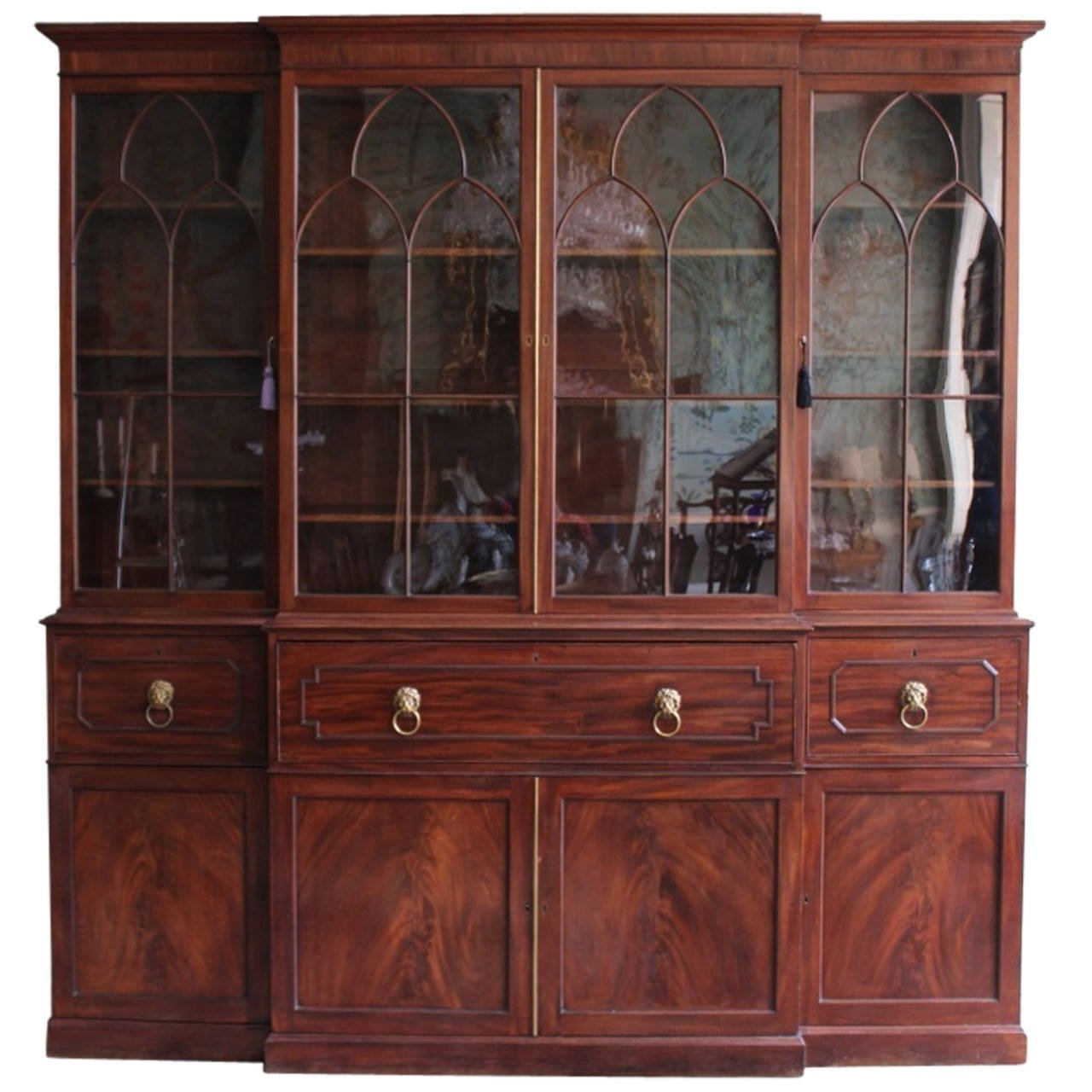 Recent Break Front Bookcases With Georgian Mahogany Breakfront Bookcase At 1stdibs (View 8 of 15)